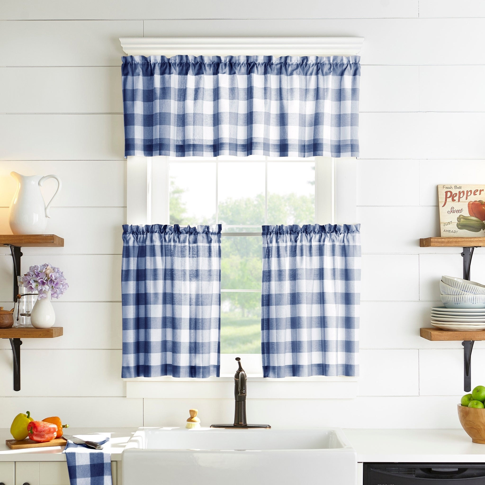The Gray Barn Emily Gulch Buffalo Check Kitchen Window Tier Set With Regard To Classic Navy Cotton Blend Buffalo Check Kitchen Curtain Sets (View 8 of 20)