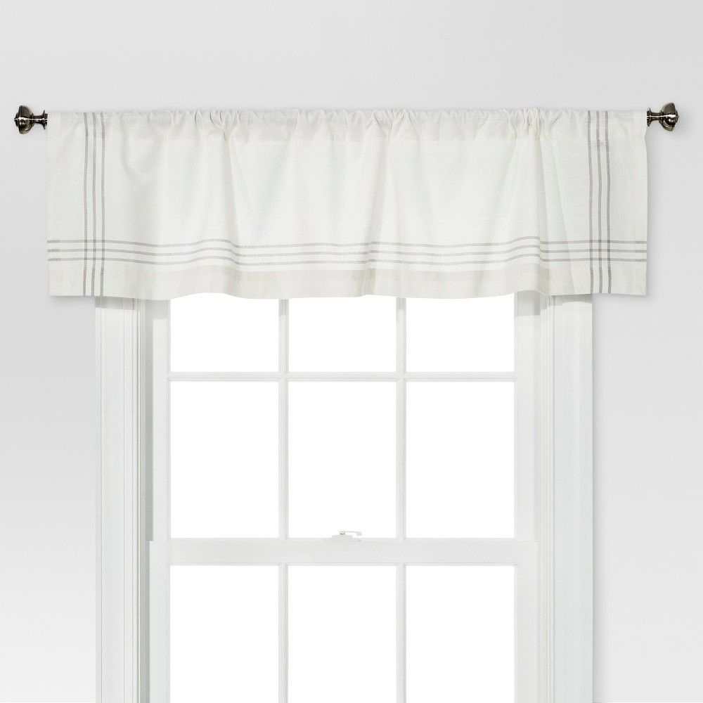 Threshold Window Valance – Cream/gray Plaid Border In 2019 For Cumberland Tier Pairs In Dove Gray (View 20 of 20)