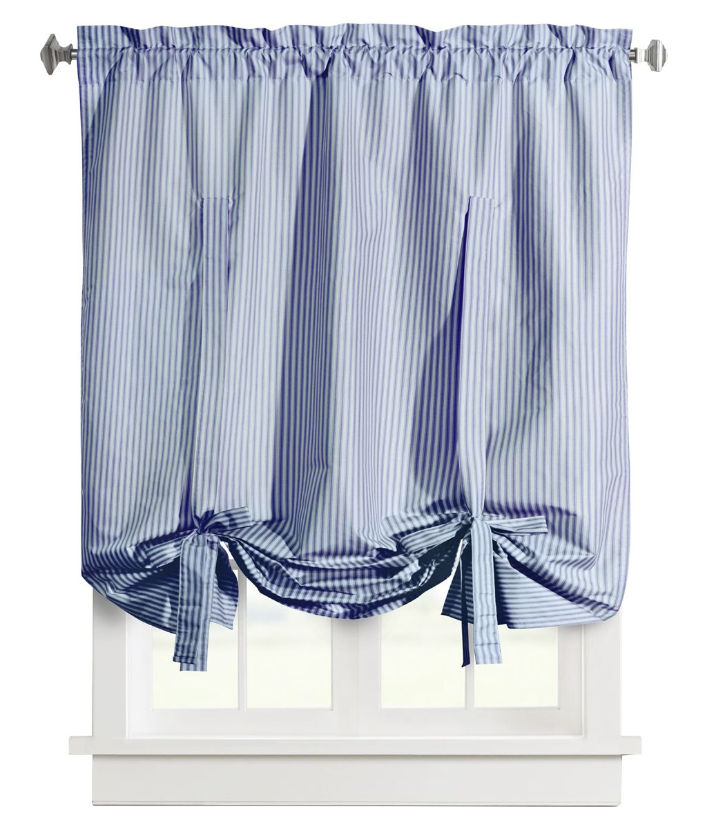 Ticking Stripe Rod Pocket Tie Up Shade – Commonwealth Thermalogic Pertaining To Linen Stripe Rod Pocket Sheer Kitchen Tier Sets (View 15 of 20)