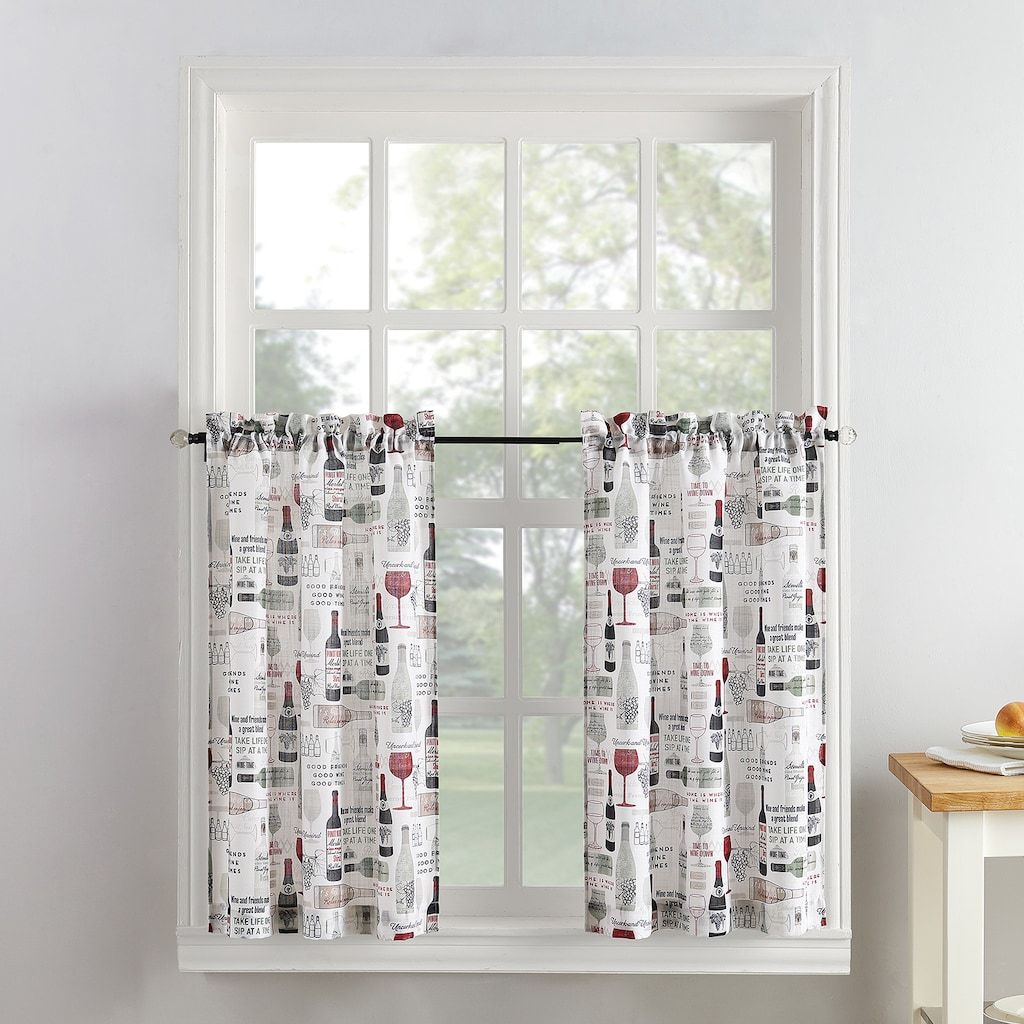 Top Of The Window Wine Down Tier Kitchen Window Curtain Pair With Regard To Chateau Wines Cottage Kitchen Curtain Tier And Valance Sets (View 18 of 20)