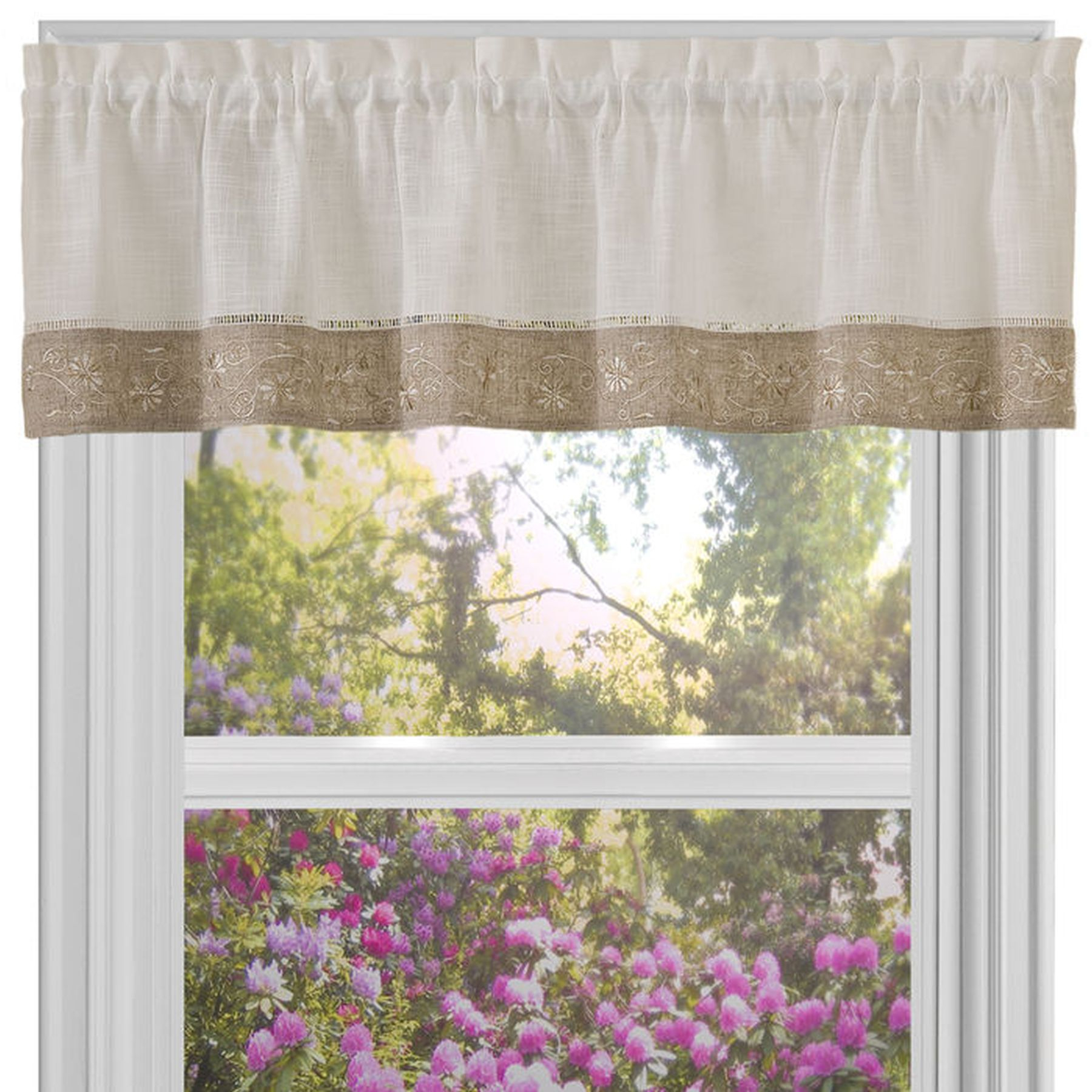 Traditional Elegance Oakwood 58x14 Window Curtain Valance – Natural Intended For Oakwood Linen Style Decorative Curtain Tier Sets (View 14 of 20)