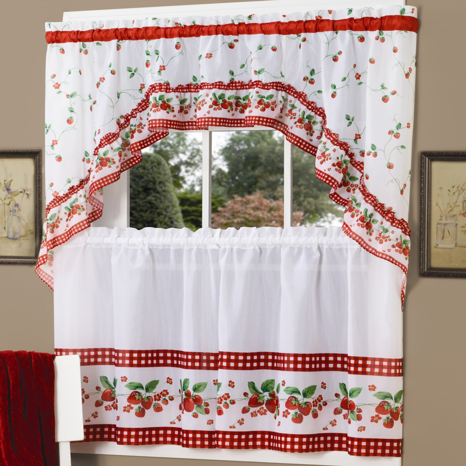 Traditional Two Piece Tailored Tier And Swag Window Curtains In Traditional Two Piece Tailored Tier And Valance Window Curtains (View 8 of 20)