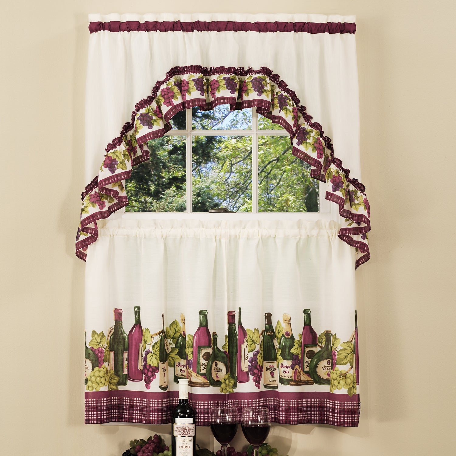 Traditional Two Piece Tailored Tier And Swag Window Curtains Set With Classic French Wine And Grapes Print – 36 Inch Throughout Cotton Blend Ivy Floral Tier Curtain And Swag Sets (View 20 of 20)
