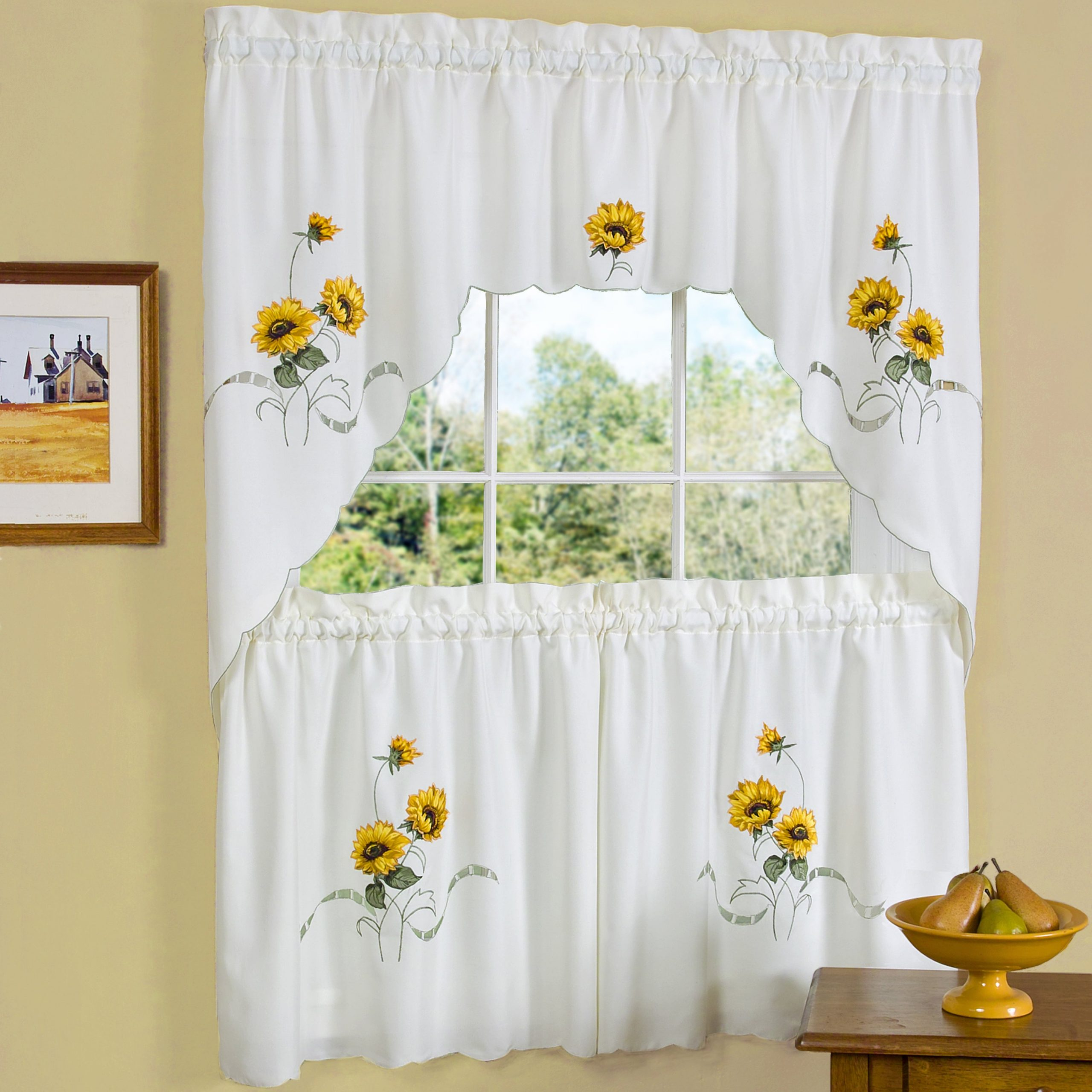 Traditional Two Piece Tailored Tier And Swag Window Curtains Set With Embroidered Yellow Sunflowers – 36 Inch In Embroidered Floral 5 Piece Kitchen Curtain Sets (View 4 of 20)