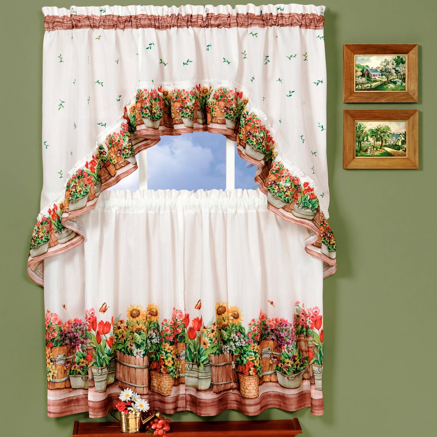 Traditional Two Piece Tailored Tier And Swag Window Curtains Set With Ornate Flower Garden Print – 36 Inch Intended For Window Curtains Sets With Colorful Marketplace Vegetable And Sunflower Print (View 6 of 20)