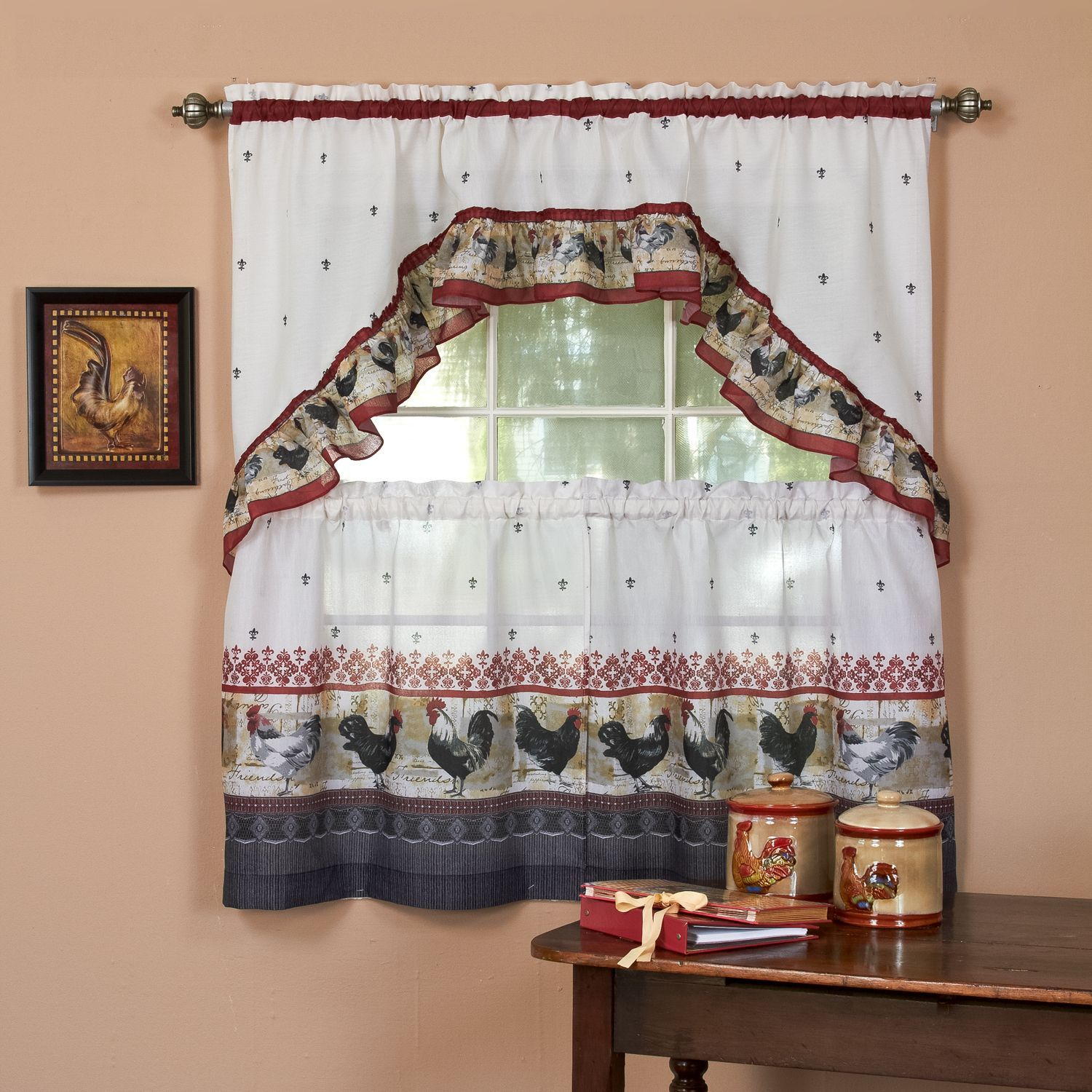 Featured Photo of Traditional Two Piece Tailored Tier And Valance Window Curtains