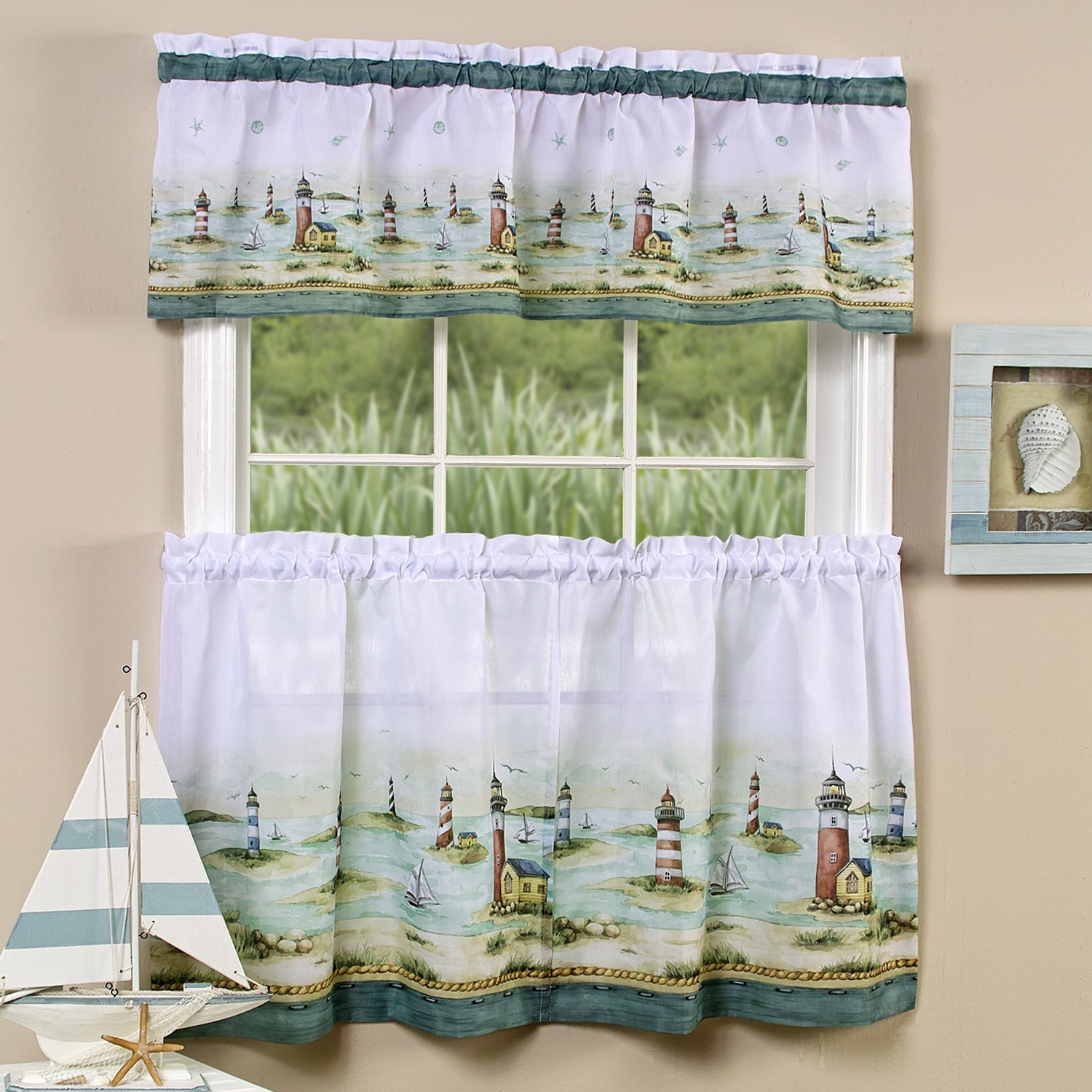 Traditional Two Piece Tailored Tier And Valance Window Curtains Set With Detailed Lighthouse Print – 36 Inch In Traditional Tailored Window Curtains With Embroidered Yellow Sunflowers (View 17 of 20)