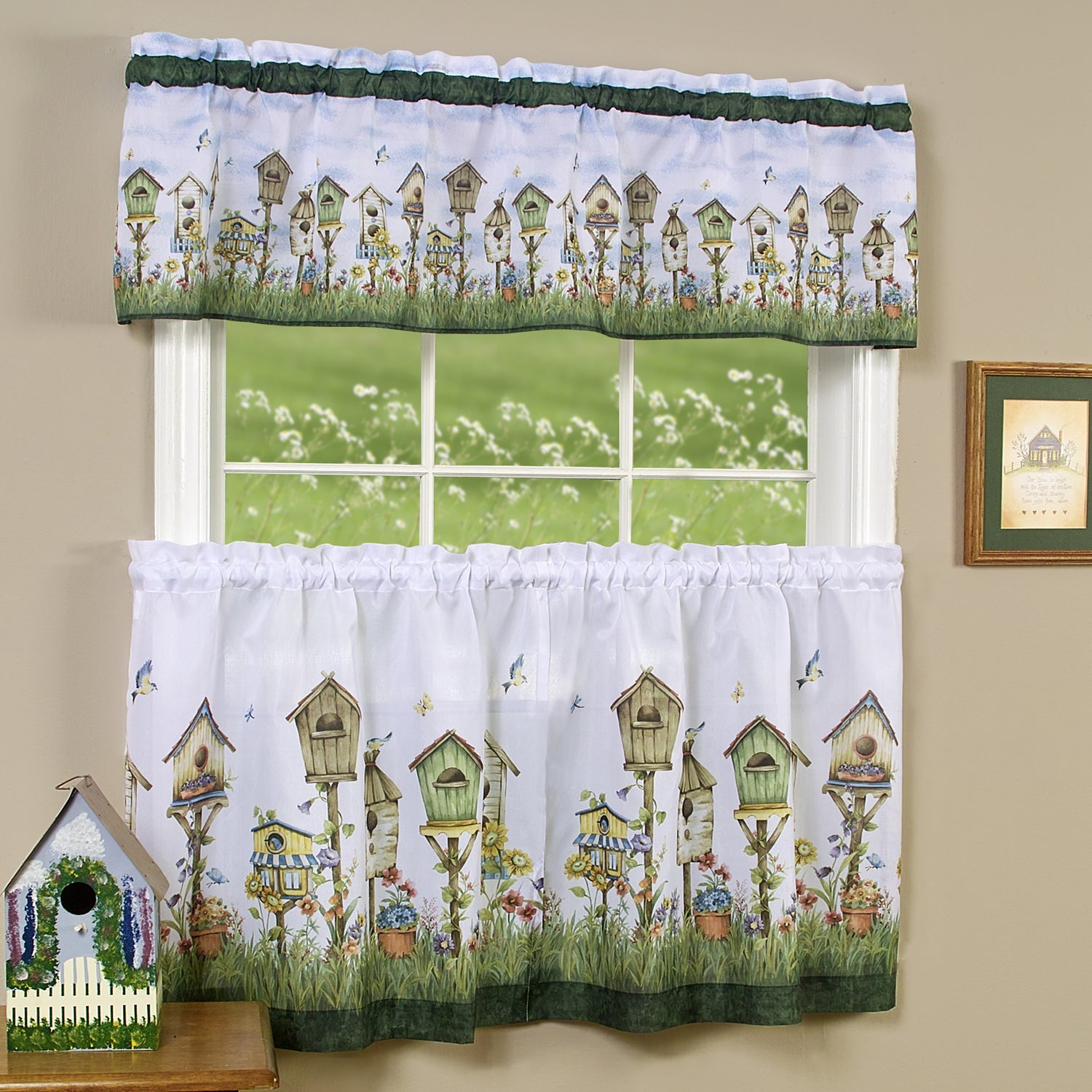 Traditional Two Piece Tailored Tier And Valance Window Curtains Set With Whimsical Birdhouse Print – 36 Inch Inside Traditional Two Piece Tailored Tier And Valance Window Curtains (View 2 of 20)