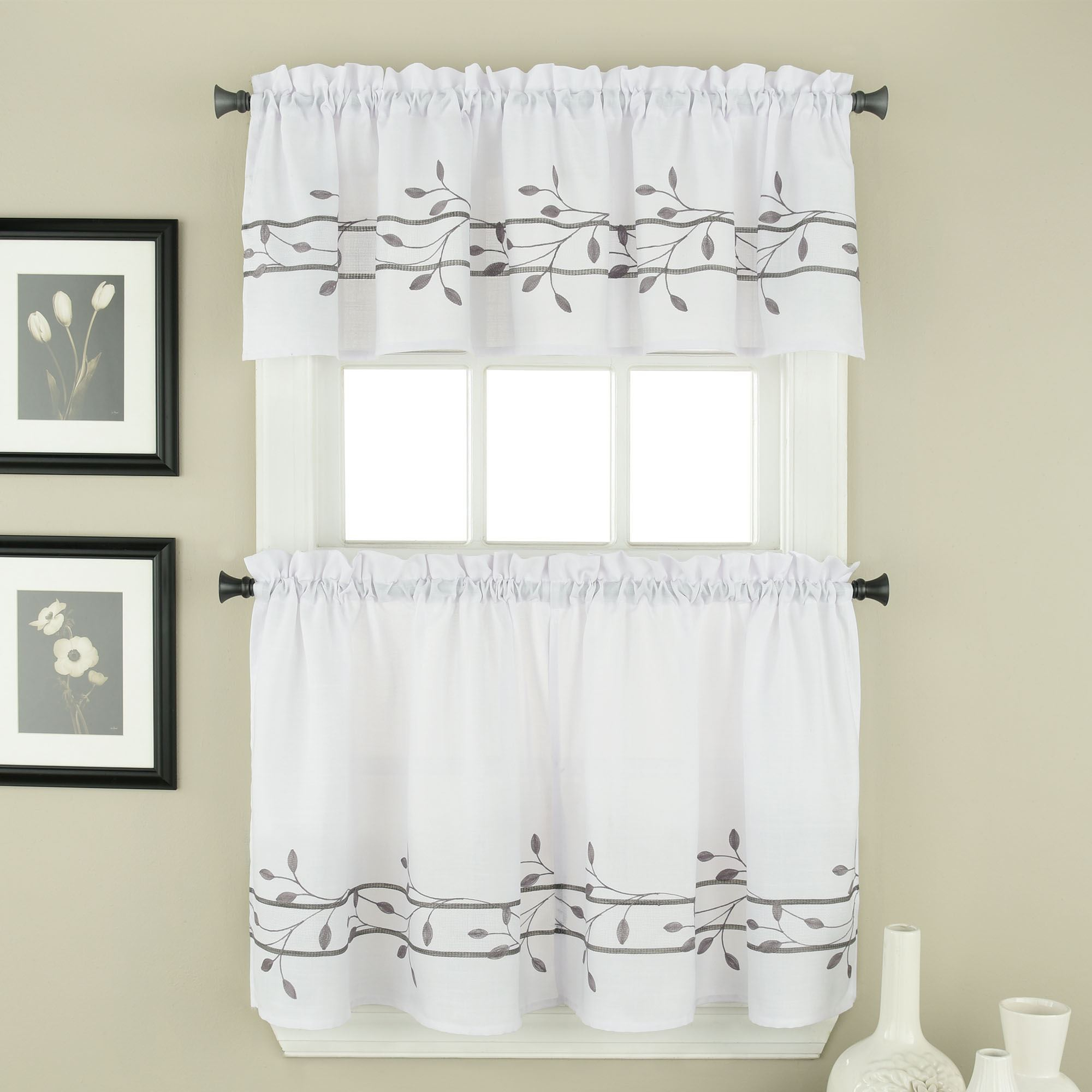 Treillage Petal Embroidered Window Tier And Valance Set With Regard To Window Curtain Tier And Valance Sets (View 17 of 20)