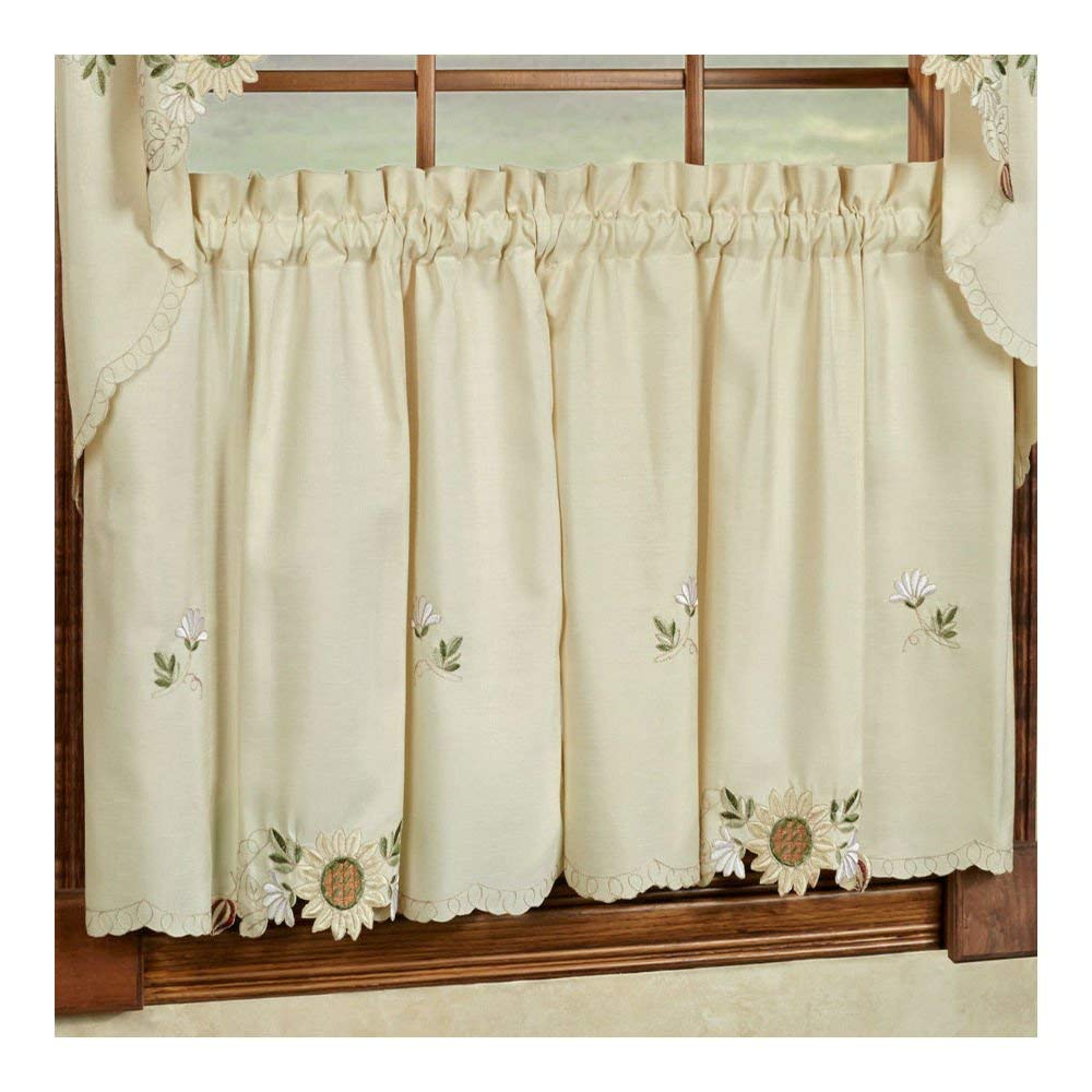 Trellis Pattern Cotton Blend Tier Curtains And Valance Set With Cotton Blend Grey Kitchen Curtain Tiers (View 20 of 20)