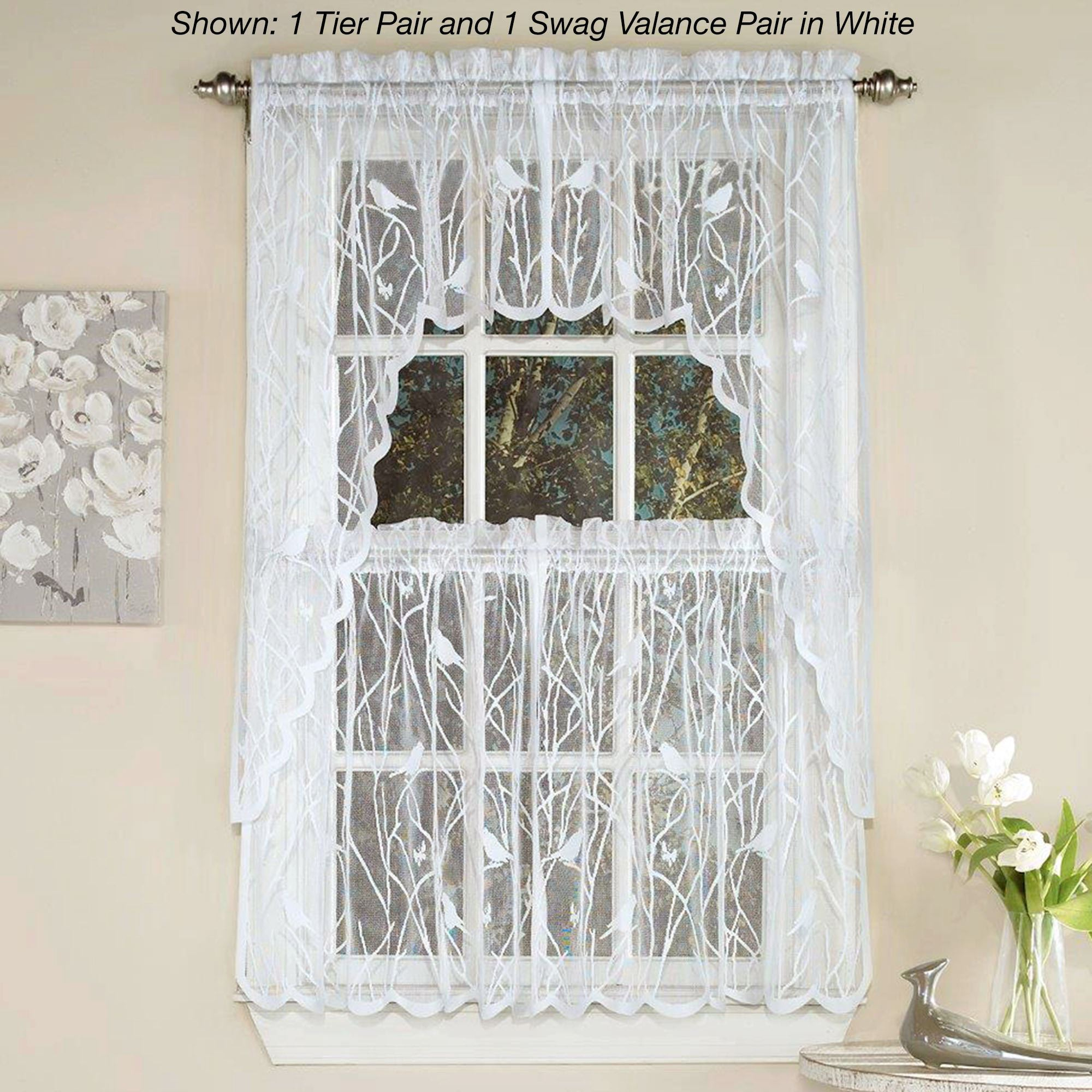 Troubadour Birds Lace Tier Window Treatment In Forest Valance And Tier Pair Curtains (View 14 of 20)