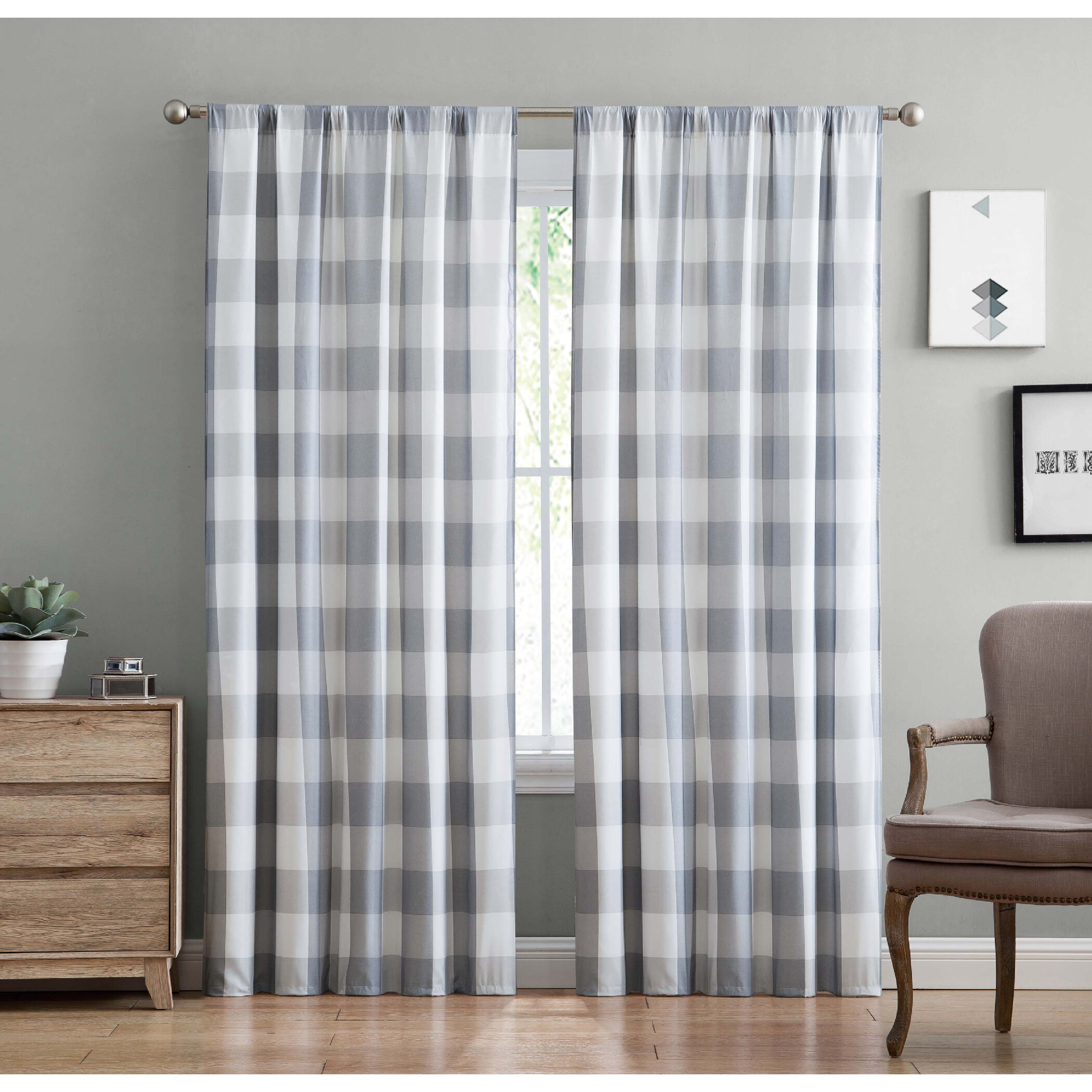 Truly Soft Buffalo Plaid Everyday Semi Sheer Rod Pocket Inside Classic Navy Cotton Blend Buffalo Check Kitchen Curtain Sets (View 20 of 20)
