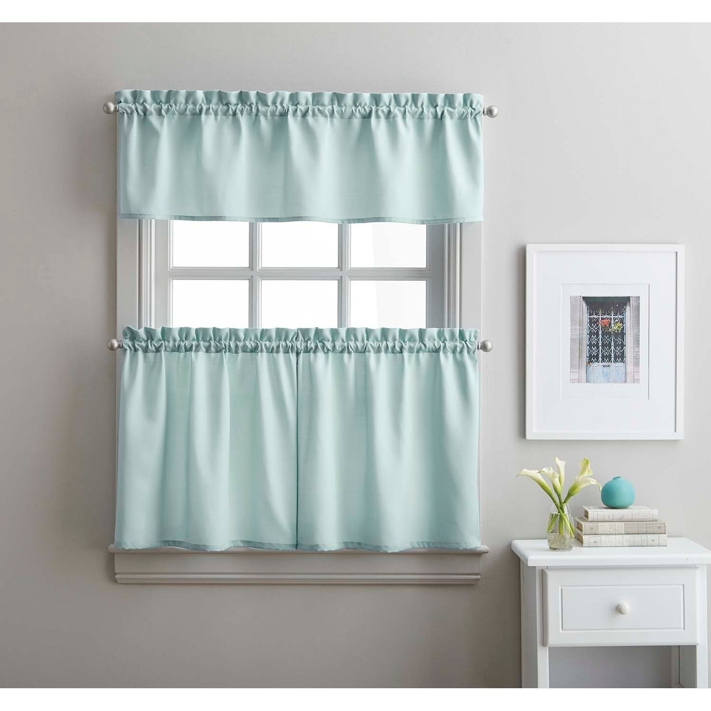 Twill 3 Piece Kitchen Curtain Tier Set Regarding Solid Microfiber 3 Piece Kitchen Curtain Valance And Tiers Sets (View 2 of 20)