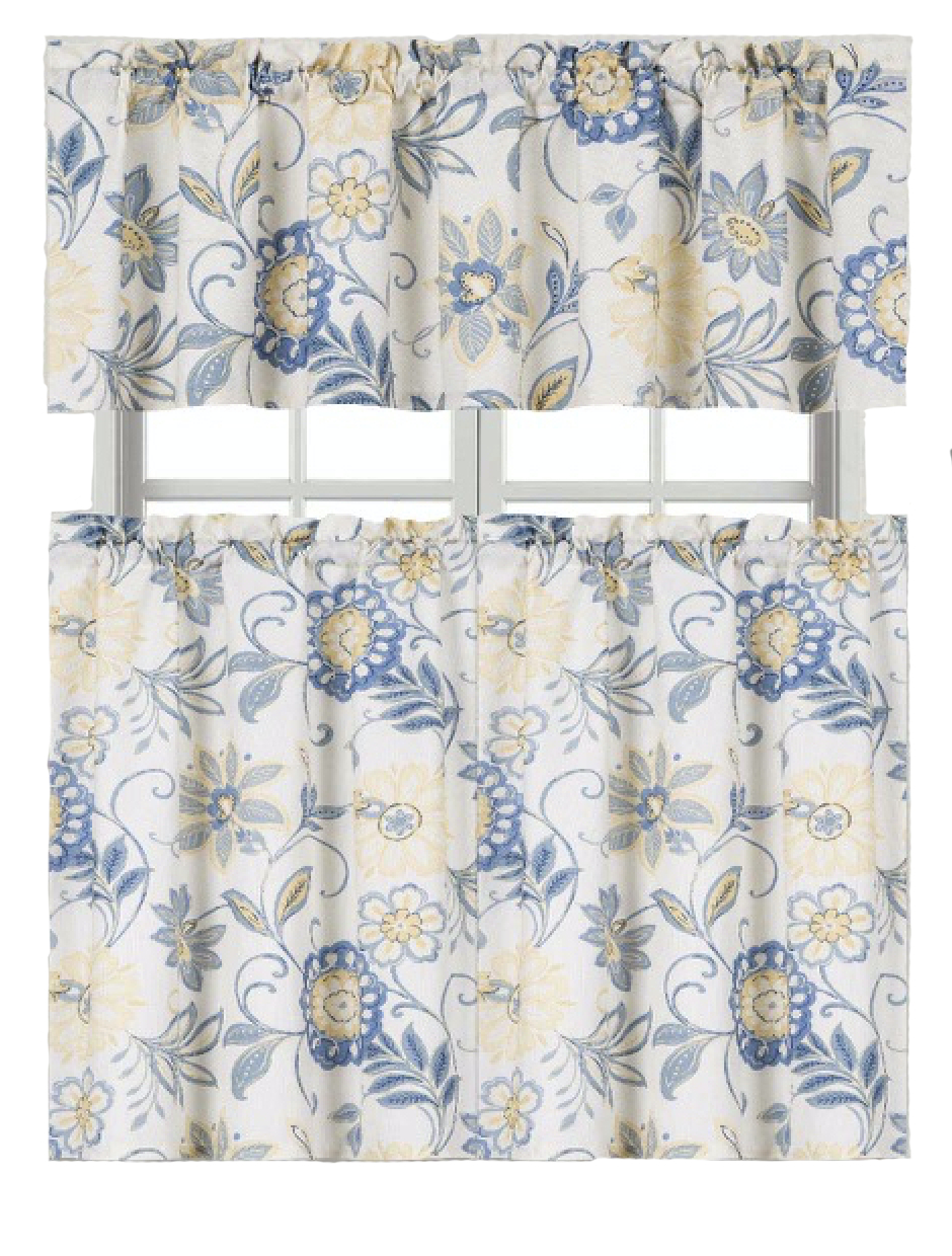 Ultra Luxurious Palm Beach Floral Shabby Kitchen Curtain Tier & Valance Set Goodgram Intended For Coastal Tier And Valance Window Curtain Sets (View 19 of 20)