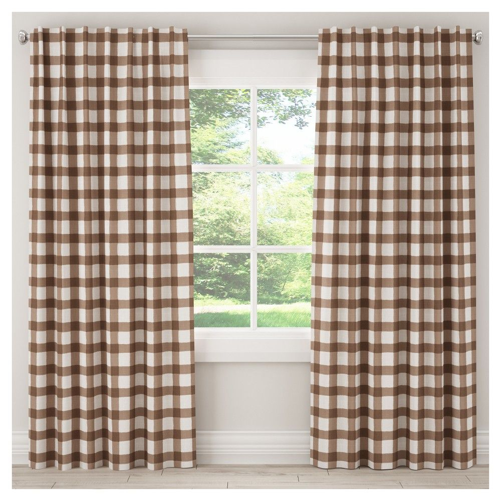 "Unlined Buffalo Check Curtain Panel Brown (50""x96 Within Classic Navy Cotton Blend Buffalo Check Kitchen Curtain Sets (View 19 of 20)"