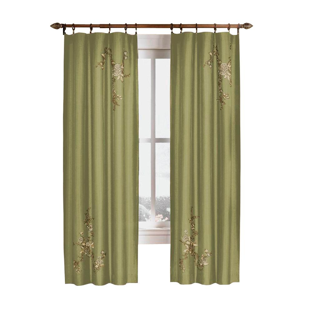 Upc 076389970524 – Curtainworks Curtains & Drapes Asia Sage Within Floral Embroidered Faux Silk Kitchen Tiers (View 13 of 20)