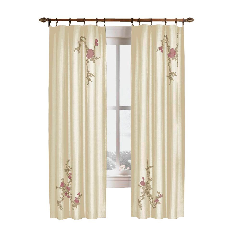 Upc 076389970579 – Curtainworks Curtains & Drapes Asia Ivory In Floral Embroidered Faux Silk Kitchen Tiers (View 6 of 20)
