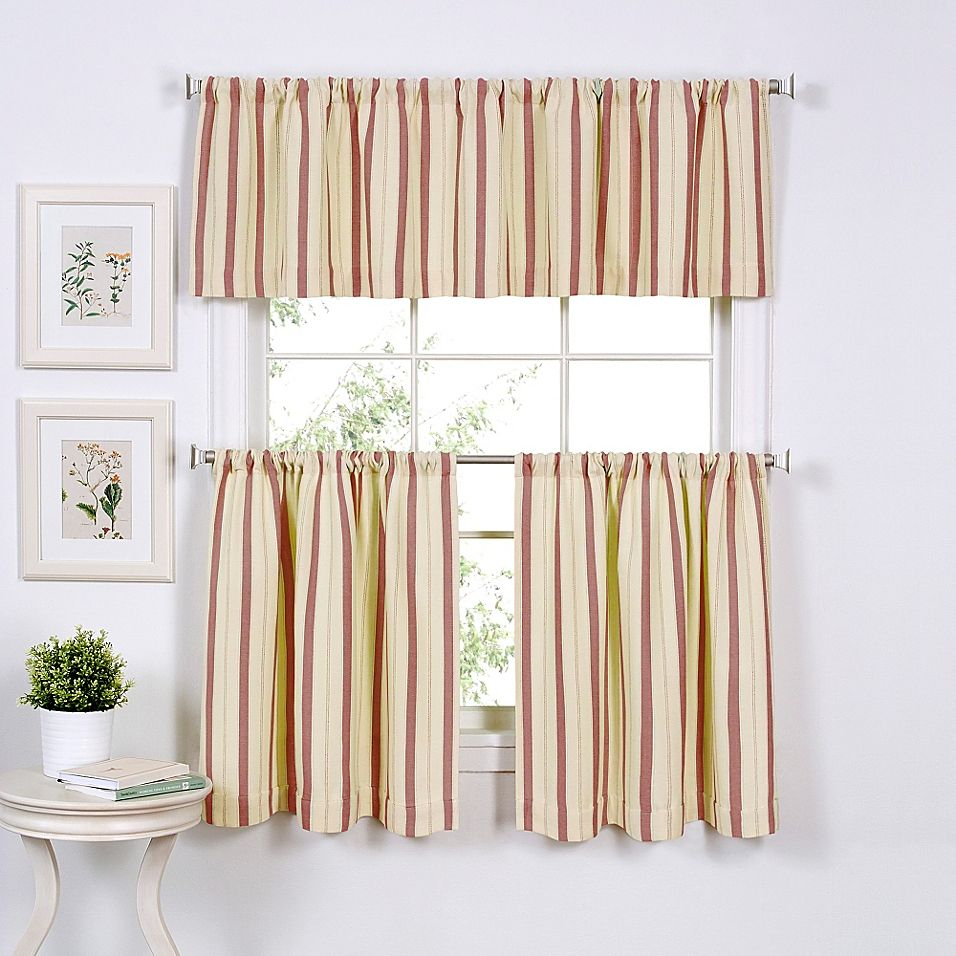 """Updated Ticking 24"""" Window Curtain Tier Pair In Spice With Touch Of Spring 24 Inch Tier Pairs (View 9 of 20)"""