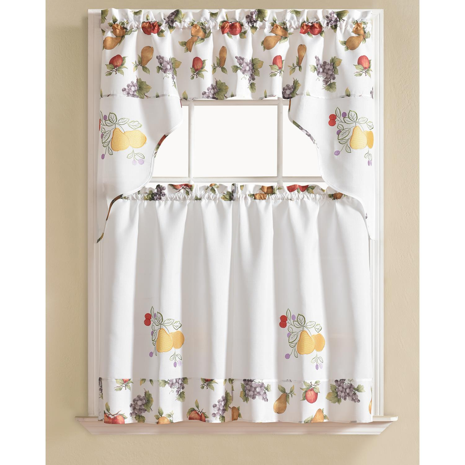 Urban Embroidered Pear Tier And Valance Kitchen Curtain Set Inside Coffee Embroidered Kitchen Curtain Tier Sets (View 17 of 20)