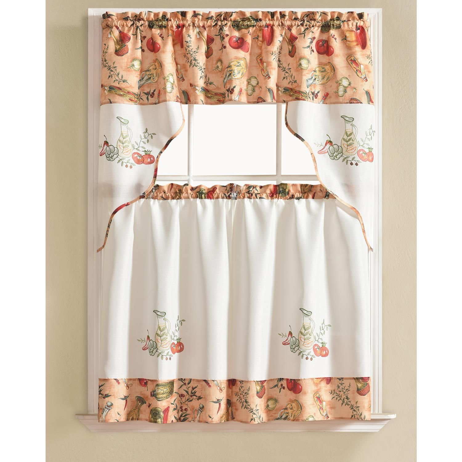 Urban Embroidered Vegetable Tier And Valance Kitchen Curtain Throughout Traditional Two Piece Tailored Tier And Valance Window Curtains (View 6 of 20)