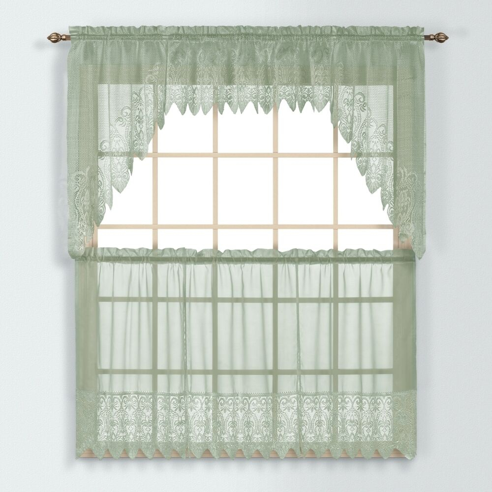 Valerie Macrame Kitchen Curtain Colection - Sage Green - New ! | Ebay for Dexter 24 Inch Tier Pairs In Green (Image 19 of 20)