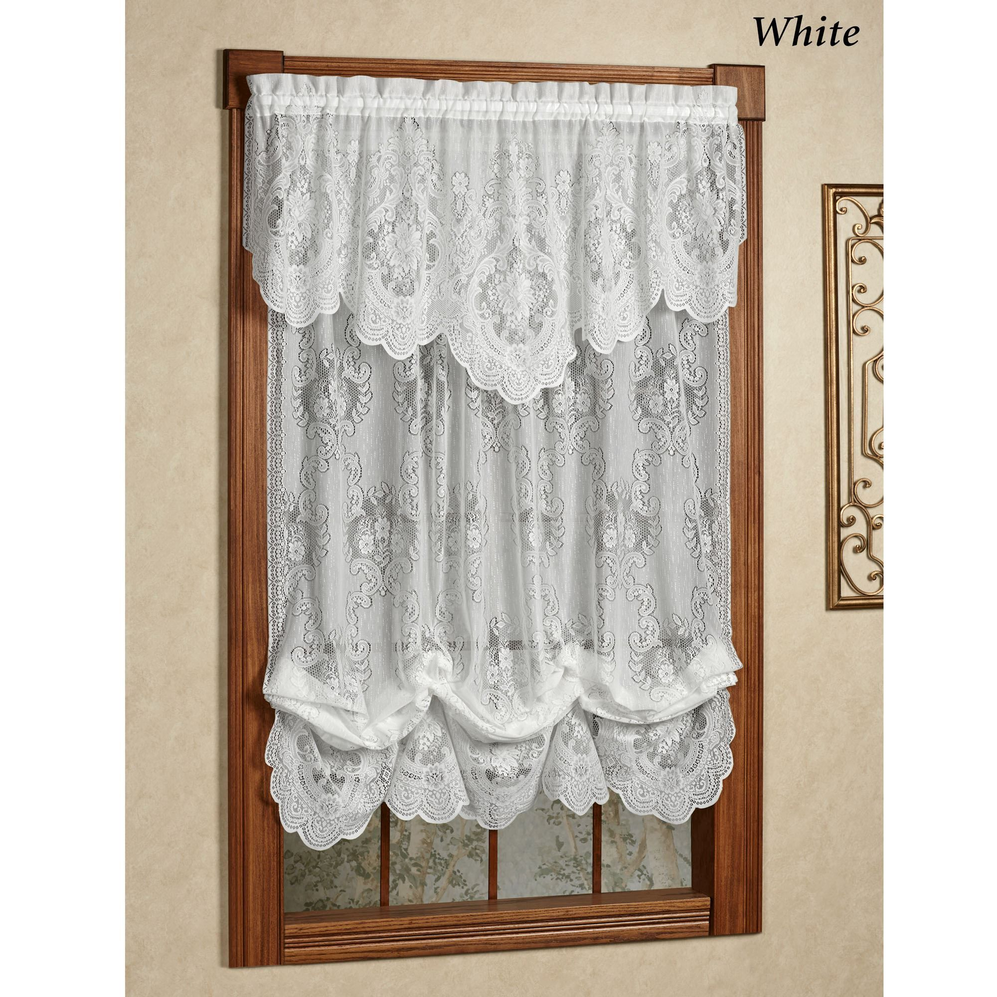 Vanessa Lace Window Treatment | I Love Like Want Pertaining To Silver Vertical Ruffled Waterfall Valance And Curtain Tiers (View 14 of 20)