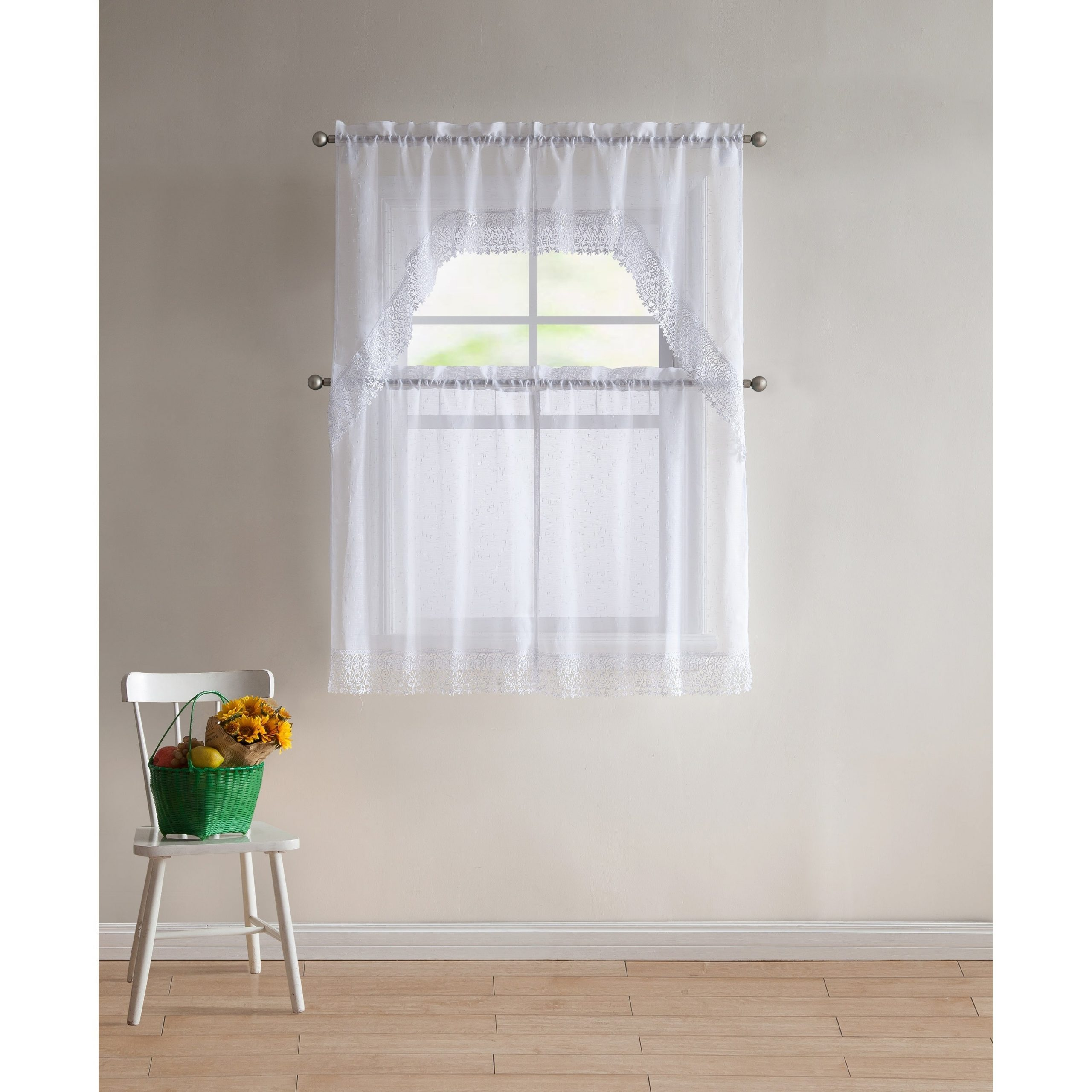 Vcny Home Farrah 4 Piece Kitchen Curtain Set Pertaining To Spring Daisy Tiered Curtain 3 Piece Sets (View 20 of 20)