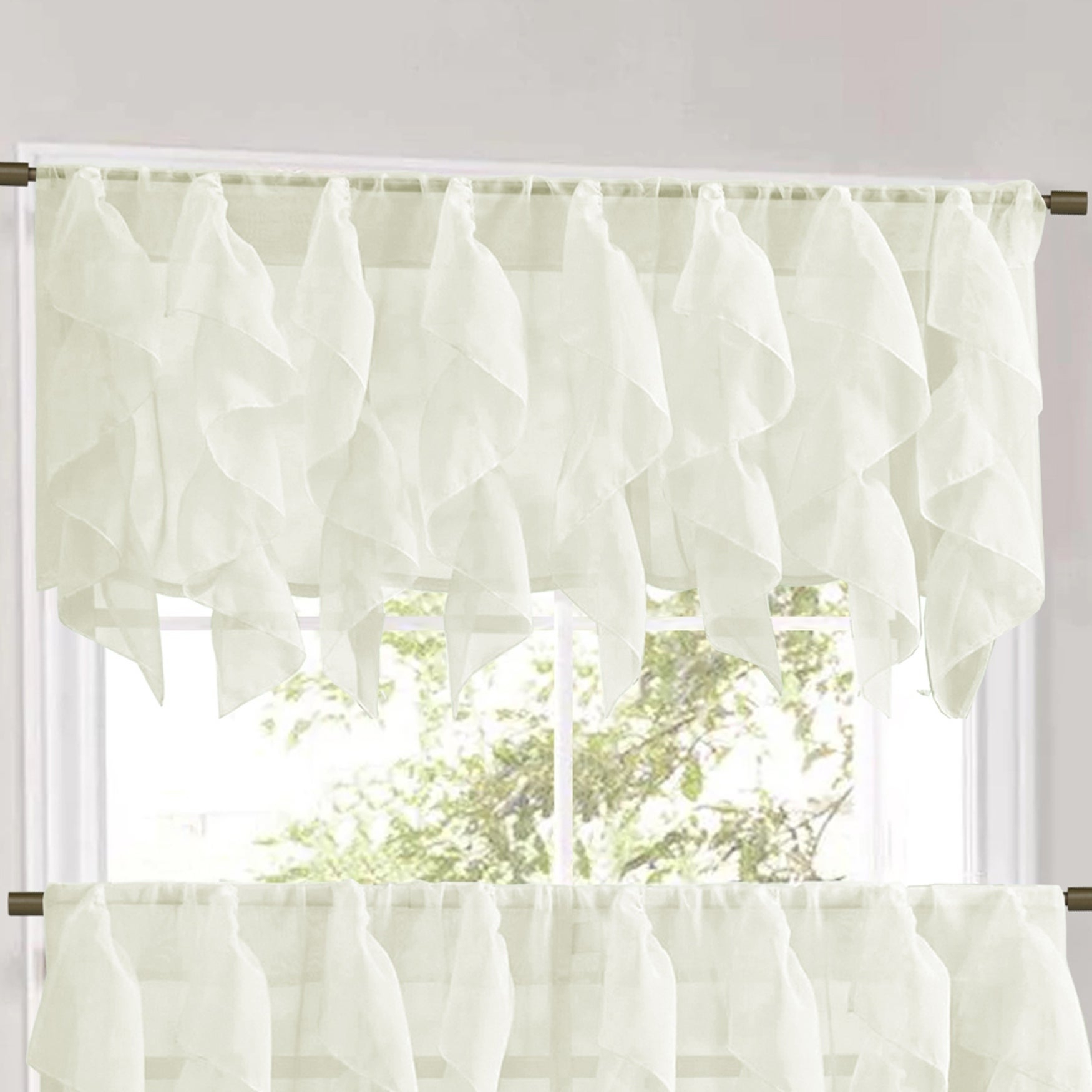 Vertical Ruffled Waterfall Window Curtain Pieces- Valance And Tiers Options  (Ivory) in Maize Vertical Ruffled Waterfall Valance And Curtain Tiers (Image 18 of 20)