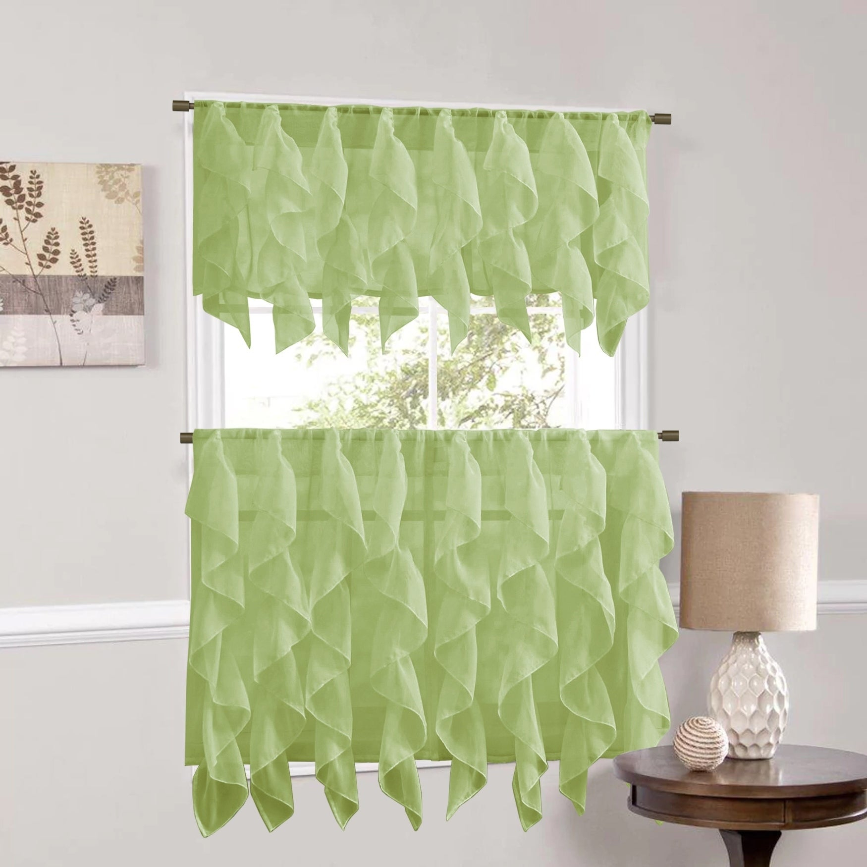 Vertical Ruffled Waterfall Window Curtain Pieces- Valance And Tiers Options  (Sage) for Maize Vertical Ruffled Waterfall Valance And Curtain Tiers (Image 19 of 20)