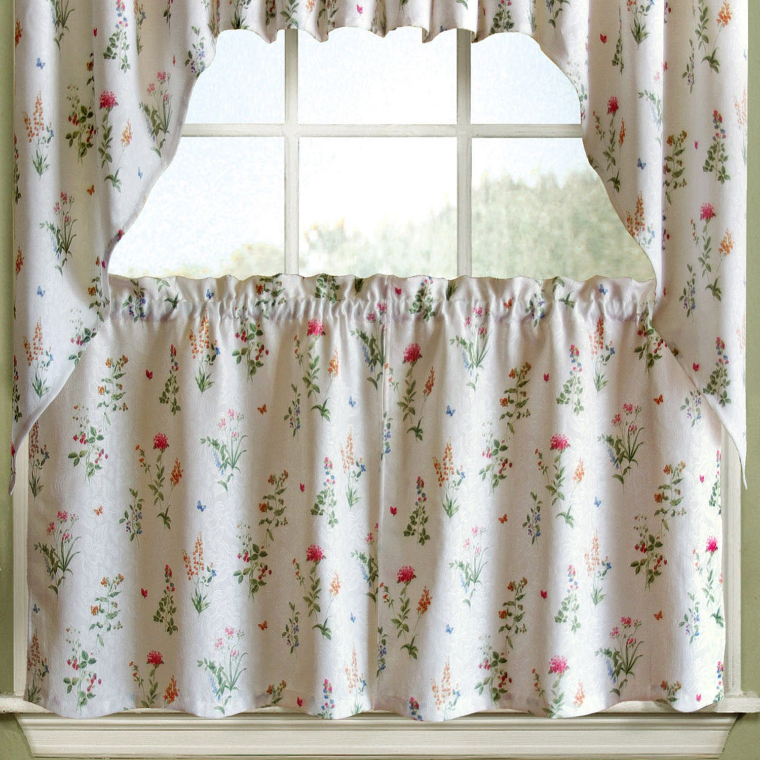 Vibrant Floral Garden Motif Jacquard Window Curtain Pieces In Embroidered Ladybugs Window Curtain Pieces (View 2 of 20)
