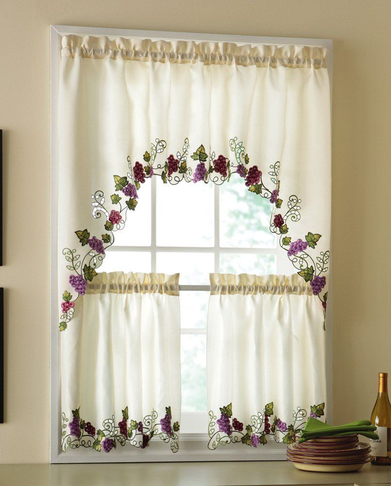 Vineyard Grapes Embroidered Kitchen Curtains & Valance Pertaining To Embroidered Floral 5 Piece Kitchen Curtain Sets (View 9 of 20)