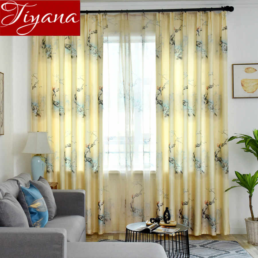 Vintage Birds Print Yellow Curtains For Living Room Within Cotton Blend Classic Checkered Decorative Window Curtains (View 19 of 20)