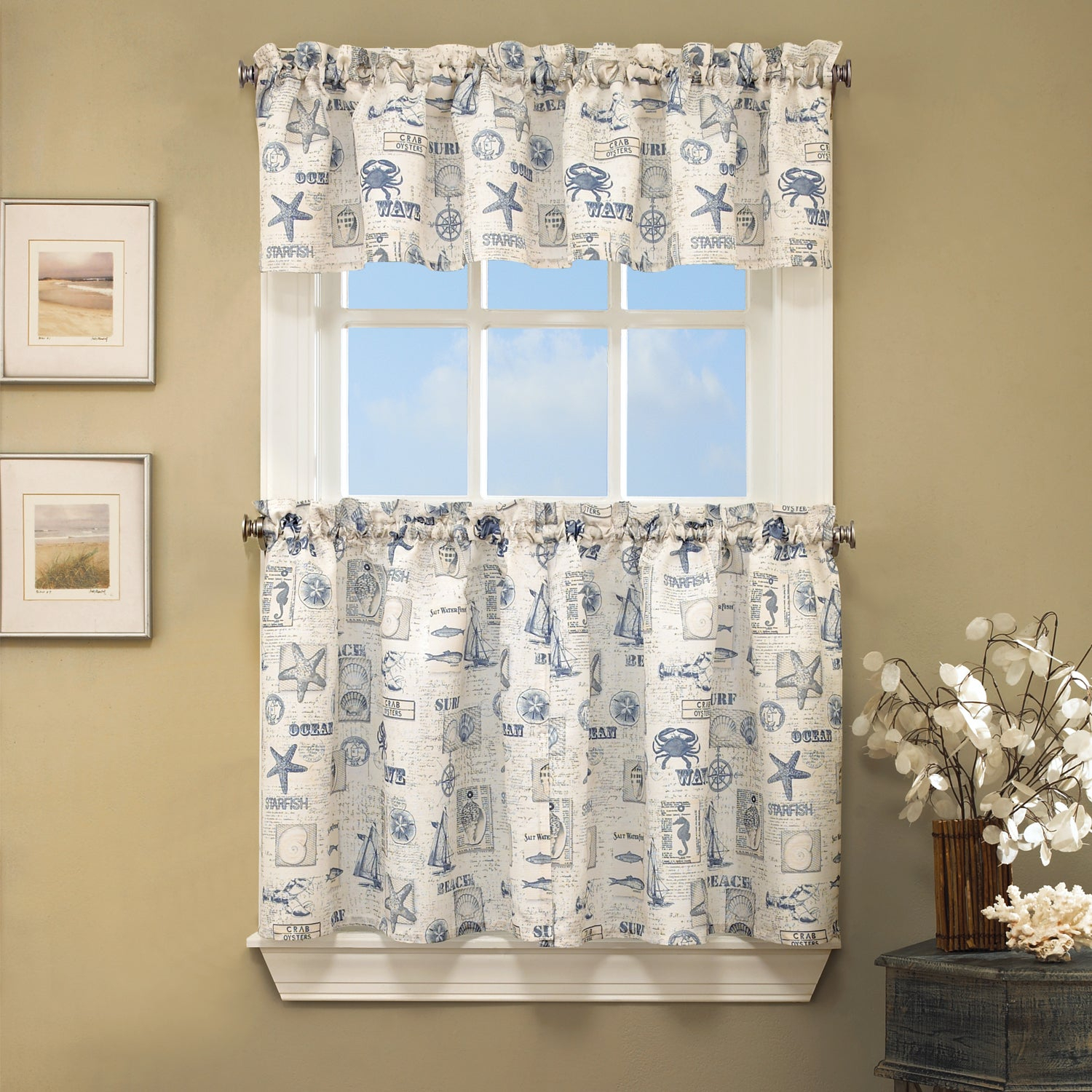 Vintage Sea Shore All Over Printed Window Curtain Separates For Seabreeze 36 Inch Tier Pairs In Ocean (View 19 of 20)