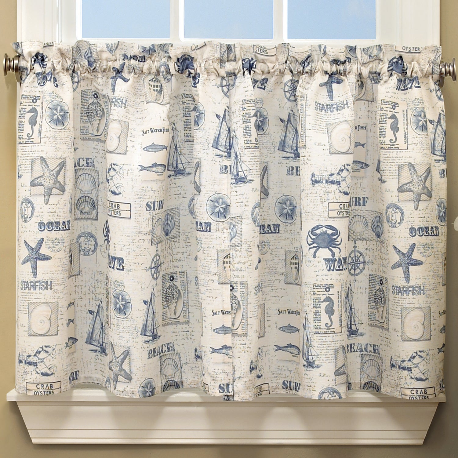 Vintage Sea Shore All Over Printed Window Curtain Separates Regarding Coastal Tier And Valance Window Curtain Sets (View 20 of 20)