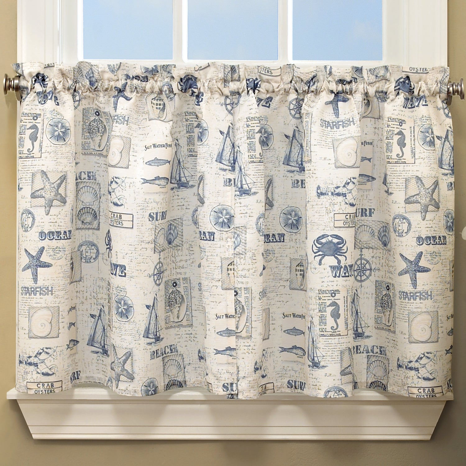 Vintage Sea Shore All Over Printed Window Curtain Separates Within Seabreeze 36 Inch Tier Pairs In Ocean (View 20 of 20)