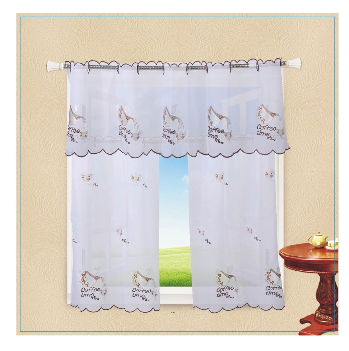 Violet Linen Ornate Sheer With Embroidered Flowers Design 3 Piece Kitchen Curtain Set – White Inside Solid Microfiber 3 Piece Kitchen Curtain Valance And Tiers Sets (View 15 of 20)