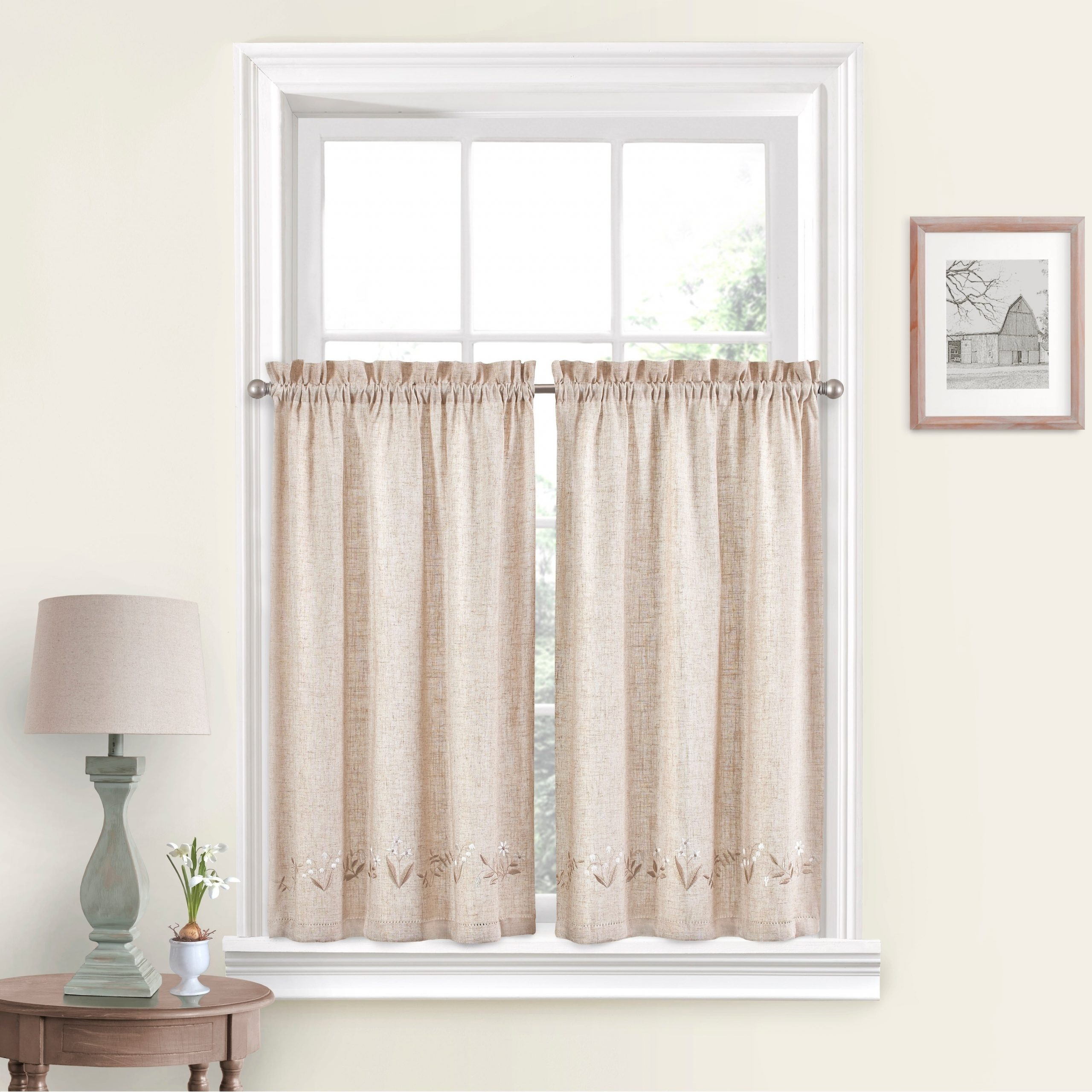 Vue Window Solutions Lily Of The Valley Pair For White Tone On Tone Raised Microcheck Semisheer Window Curtain Pieces (View 4 of 20)