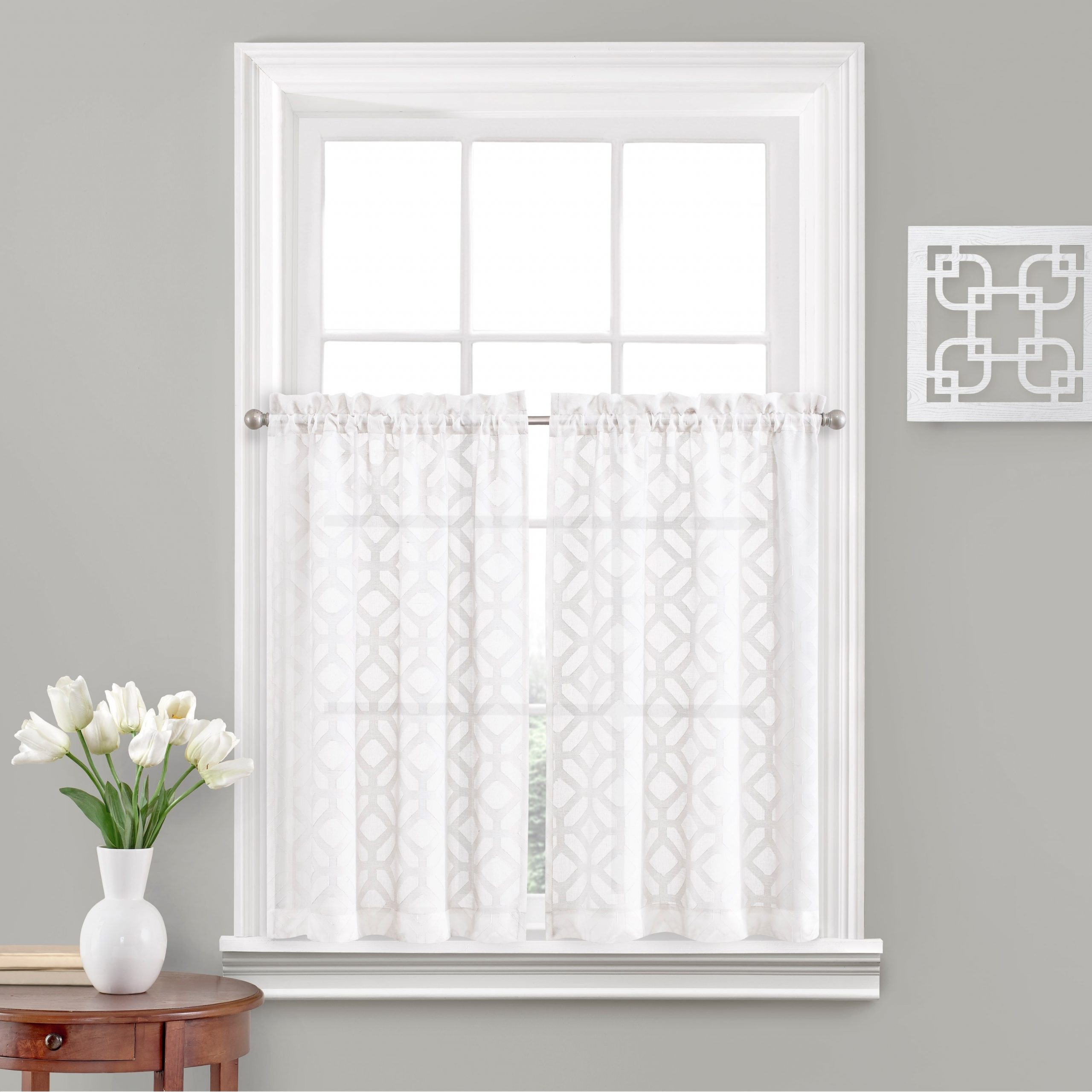 Vue Window Solutions Trellis Clip Tier Pair For White Tone On Tone Raised Microcheck Semisheer Window Curtain Pieces (View 18 of 20)