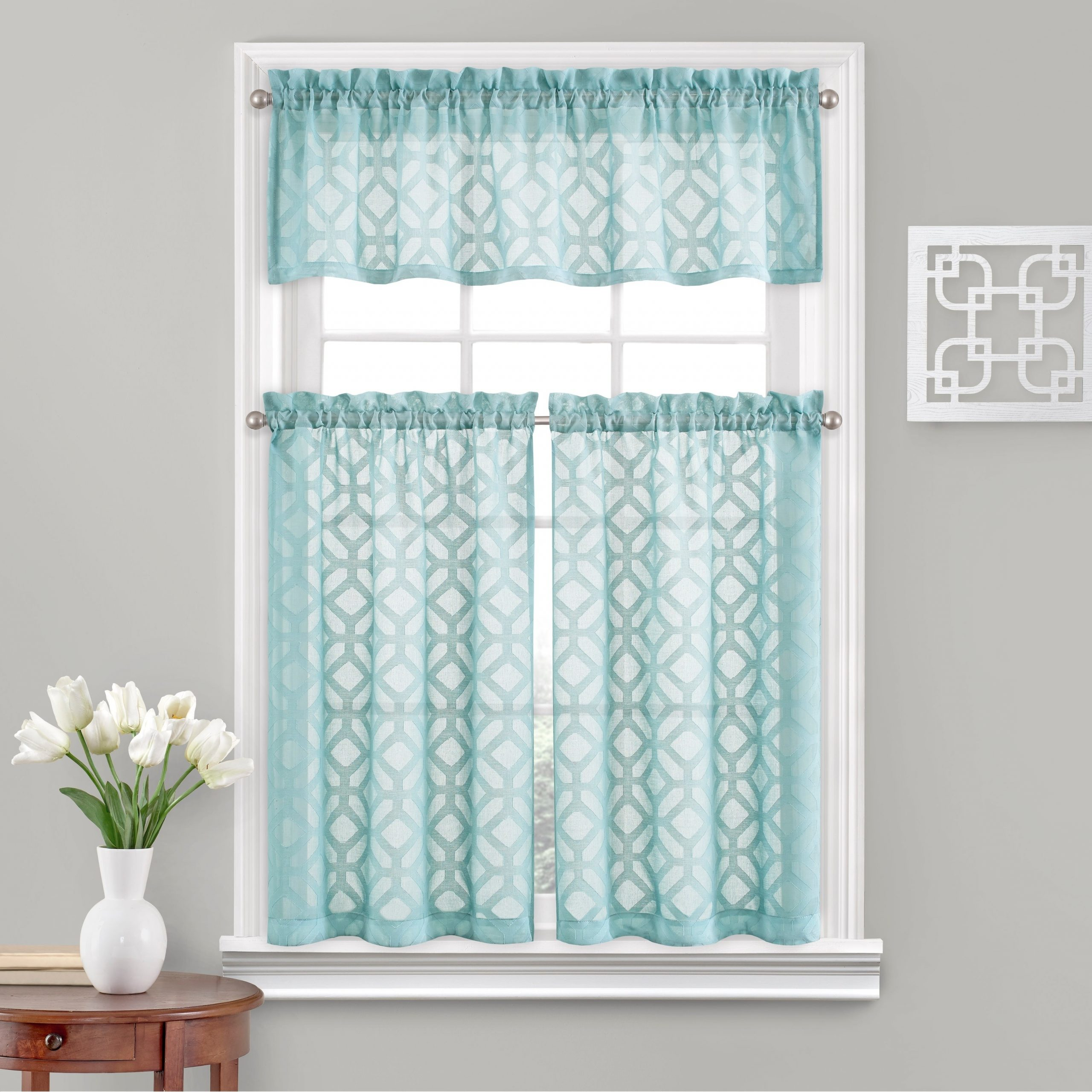 Vue Window Solutions Trellis Clip Tier Pair In White Tone On Tone Raised Microcheck Semisheer Window Curtain Pieces (View 7 of 20)