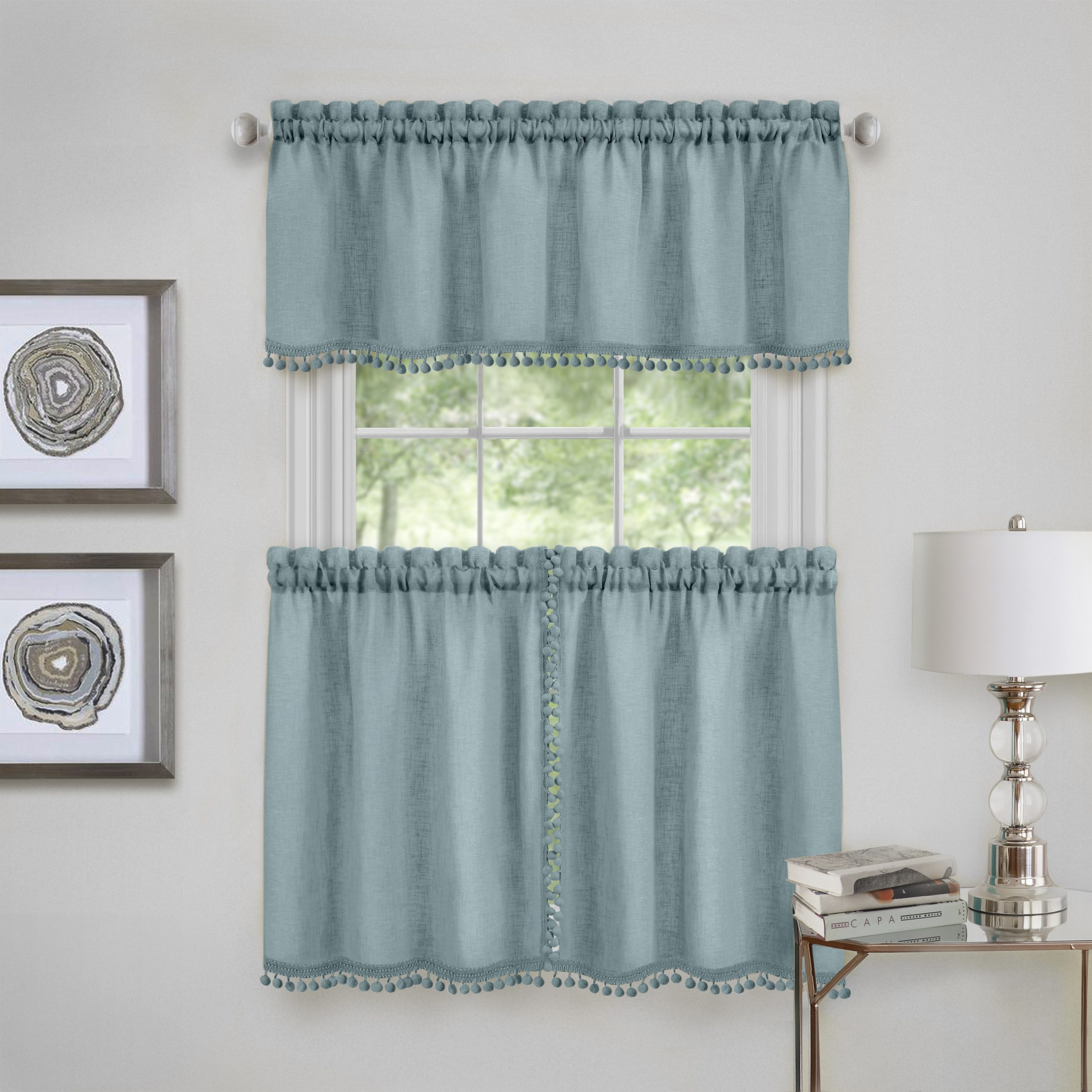 Wallace Window Kitchen Curtain Tier Pair And Valance Set With Window Curtain Tier And Valance Sets (View 12 of 20)