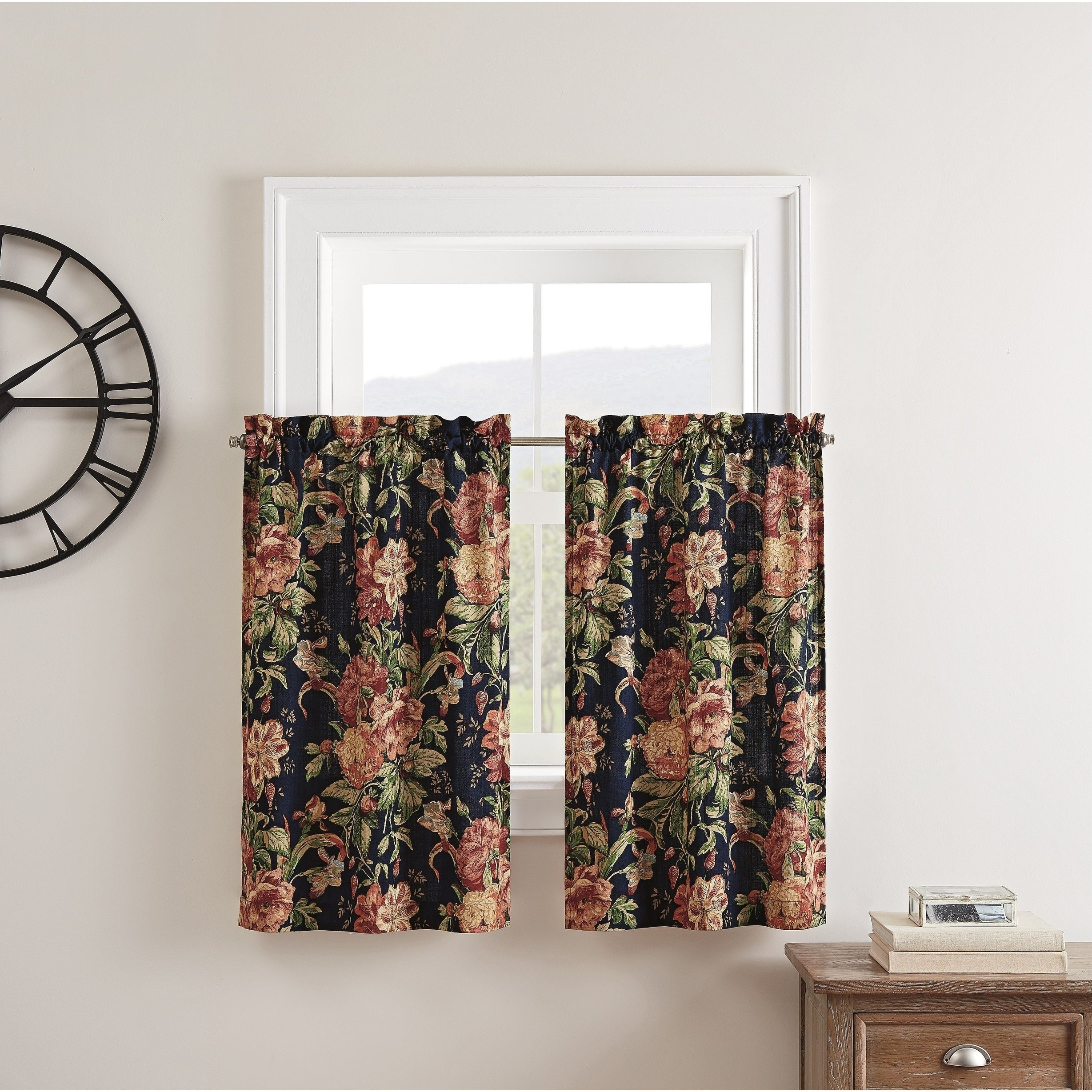 Waverly Kensington Bloom Window Tier Pair Within Oakwood Linen Style Decorative Curtain Tier Sets (View 10 of 20)