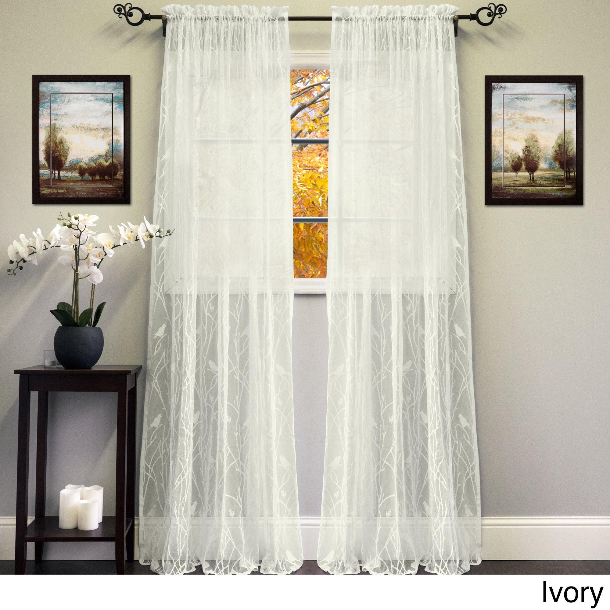 Popular Photo of Ivory Knit Lace Bird Motif Window Curtain