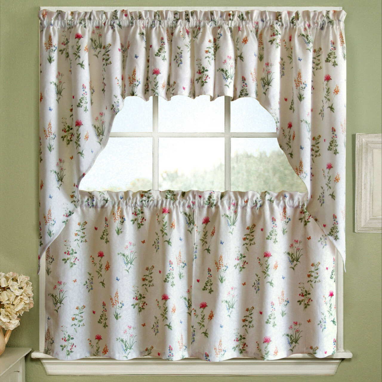 White Kitchen Curtains – V9oj Pertaining To Microfiber 3 Piece Kitchen Curtain Valance And Tiers Sets (View 19 of 20)
