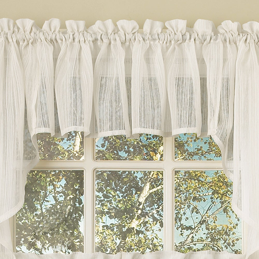 White Micro Striped Semi Sheer Window Curtain Pieces – Tiers, Valance And Swag Options For Micro Striped Semi Sheer Window Curtain Pieces (View 4 of 20)