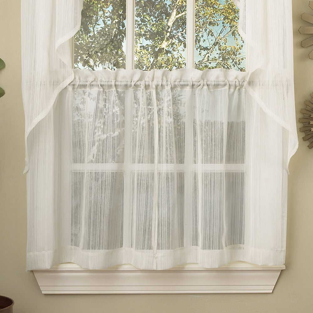 White Micro Striped Semi Sheer Window Curtain Pieces – Tiers, Valance And Swag Options For White Tone On Tone Raised Microcheck Semisheer Window Curtain Pieces (View 2 of 20)