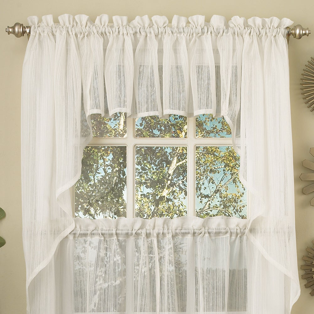 White Micro Striped Semi Sheer Window Curtain Pieces – Tiers, Valance And Swag Options Within Micro Striped Semi Sheer Window Curtain Pieces (View 3 of 20)