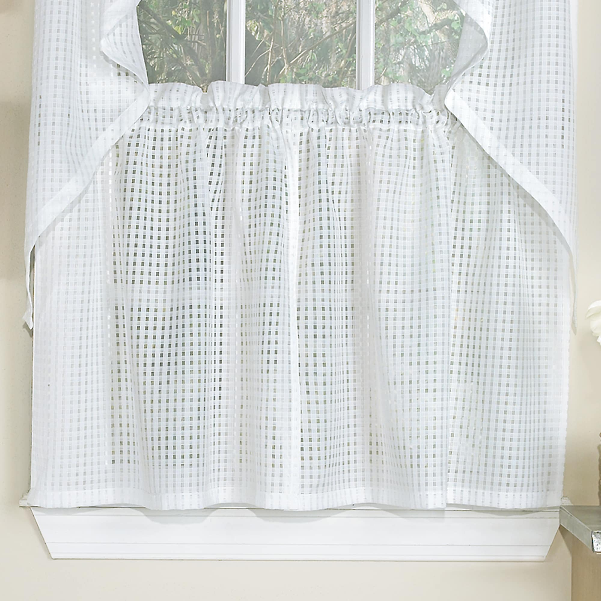 White Tone On Tone Raised Microcheck Semisheer Window Intended For Micro Striped Semi Sheer Window Curtain Pieces (View 7 of 20)