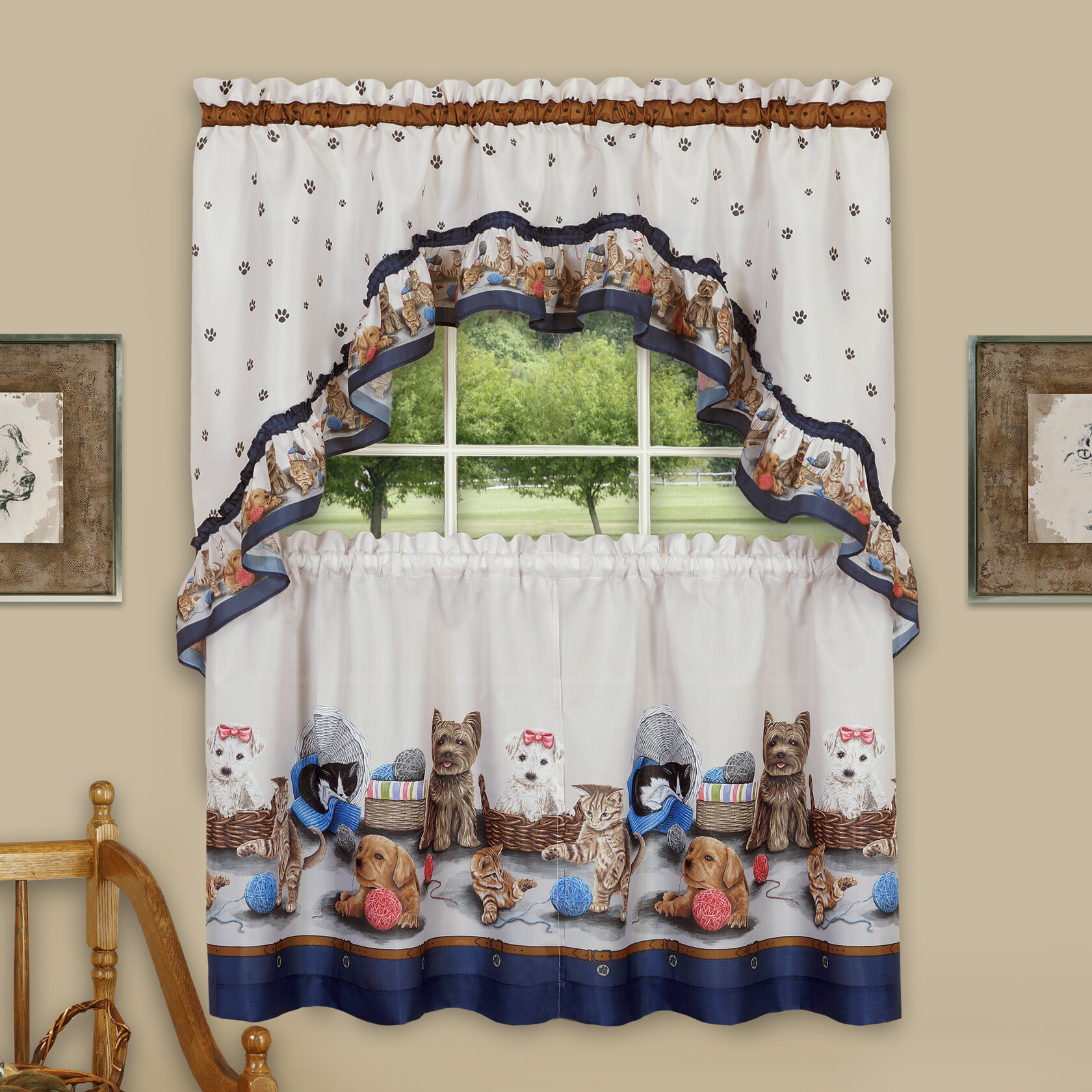 Wieczorek Precious Tier And Swag 3 Piece Kitchen Curtain Set For Chocolate 5 Piece Curtain Tier And Swag Sets (View 20 of 20)