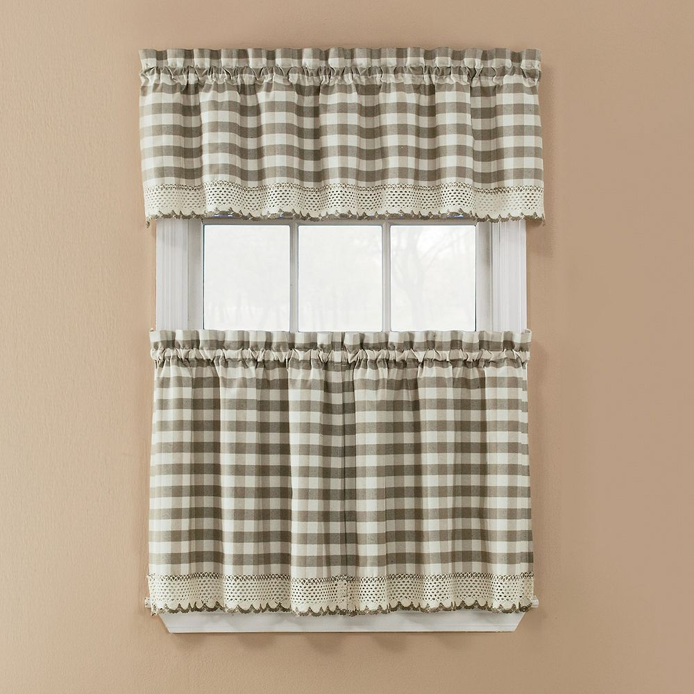 Window Accents Norwalk Plaid 3 Piece Tier Kitchen Window With Cotton Classic Toast Window Pane Pattern And Crotchet Trim Tiers (View 20 of 20)