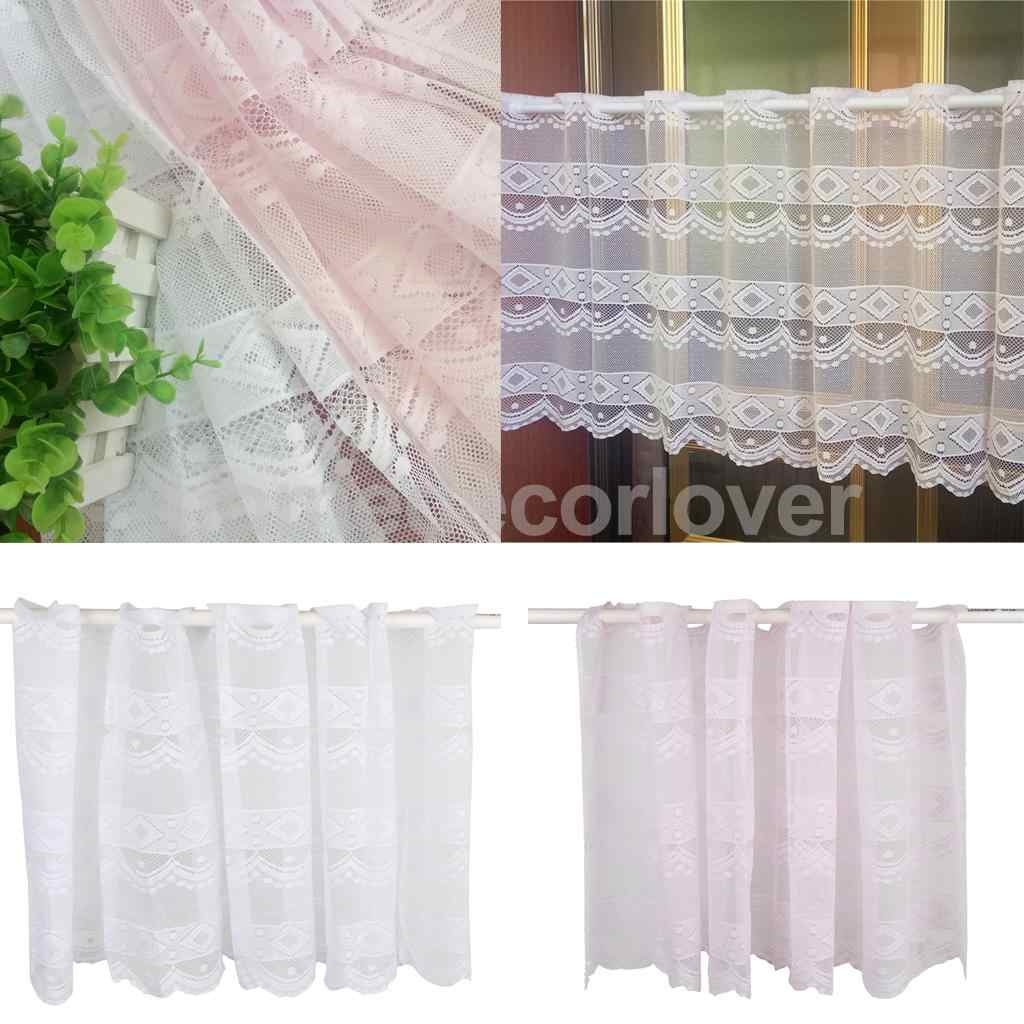 Window Dressing Polyester Net Short Curtain Home Kitchen Cafe Curtain Tier Half Window Valances, 20X63 Inch With Coffee Drinks Embroidered Window Valances And Tiers (View 15 of 20)